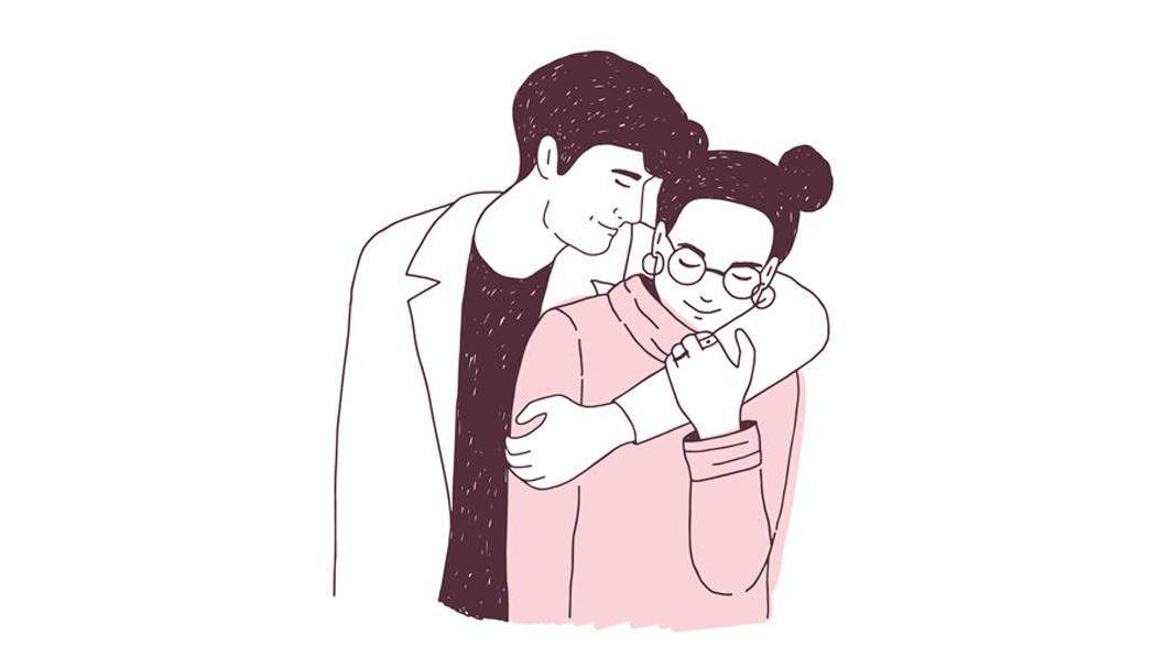 a couple embraces. REWIRE PBS Love quarantine relationships