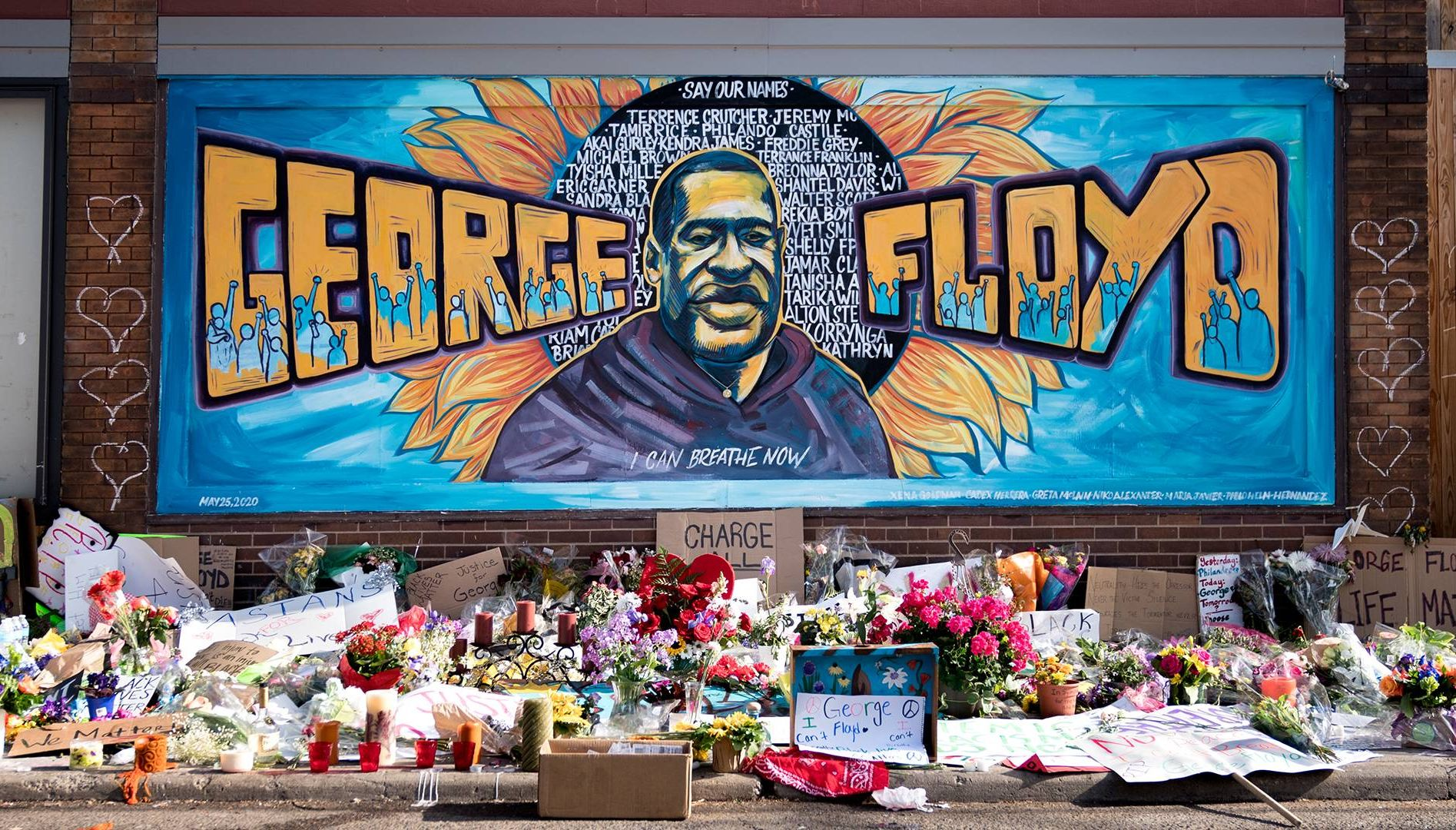 Photo of the George Floyd mural in Minneapolis. Rewire PBS Racial Justice Our Future