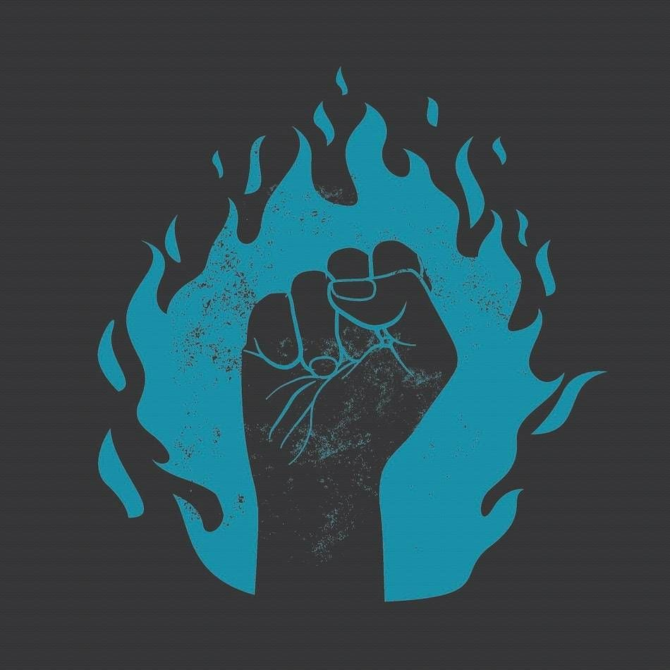 Clenched first against a blue flame. Rewire PBS Our Future protest