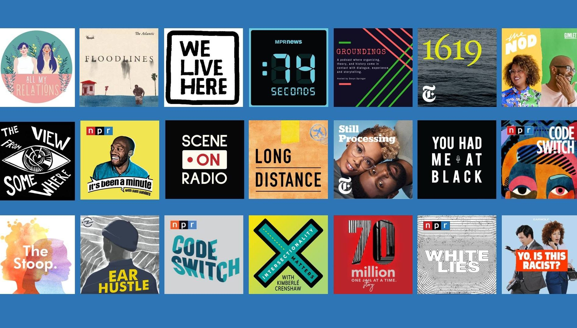 Twenty-one podcast logos. Rewire PBS Our Future podcasts