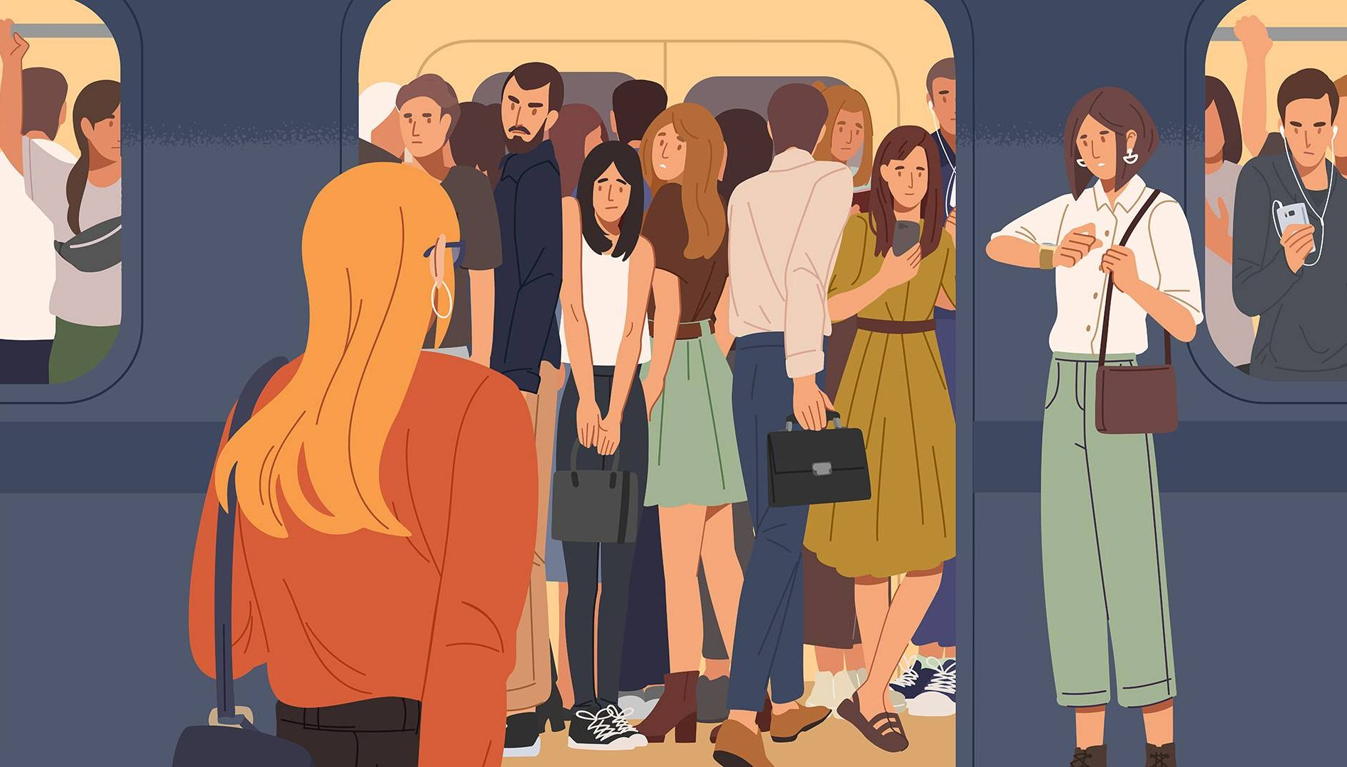 woman entering busy public transportation. REWIRE PBS living new routine