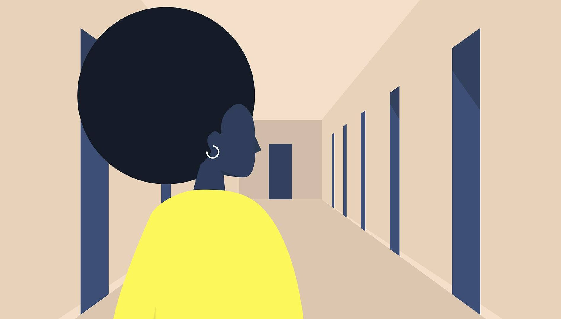 woman with choices at workplace. REWIRE PBS Work workplace values