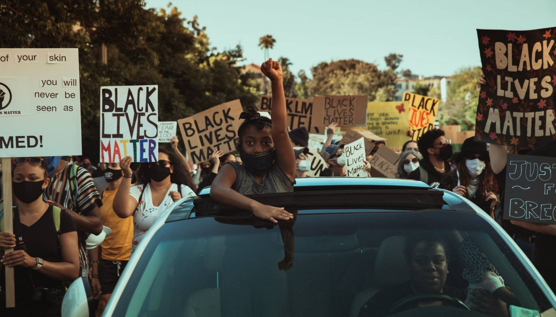 Black Lives Matters protesters on a Los Angeles street
