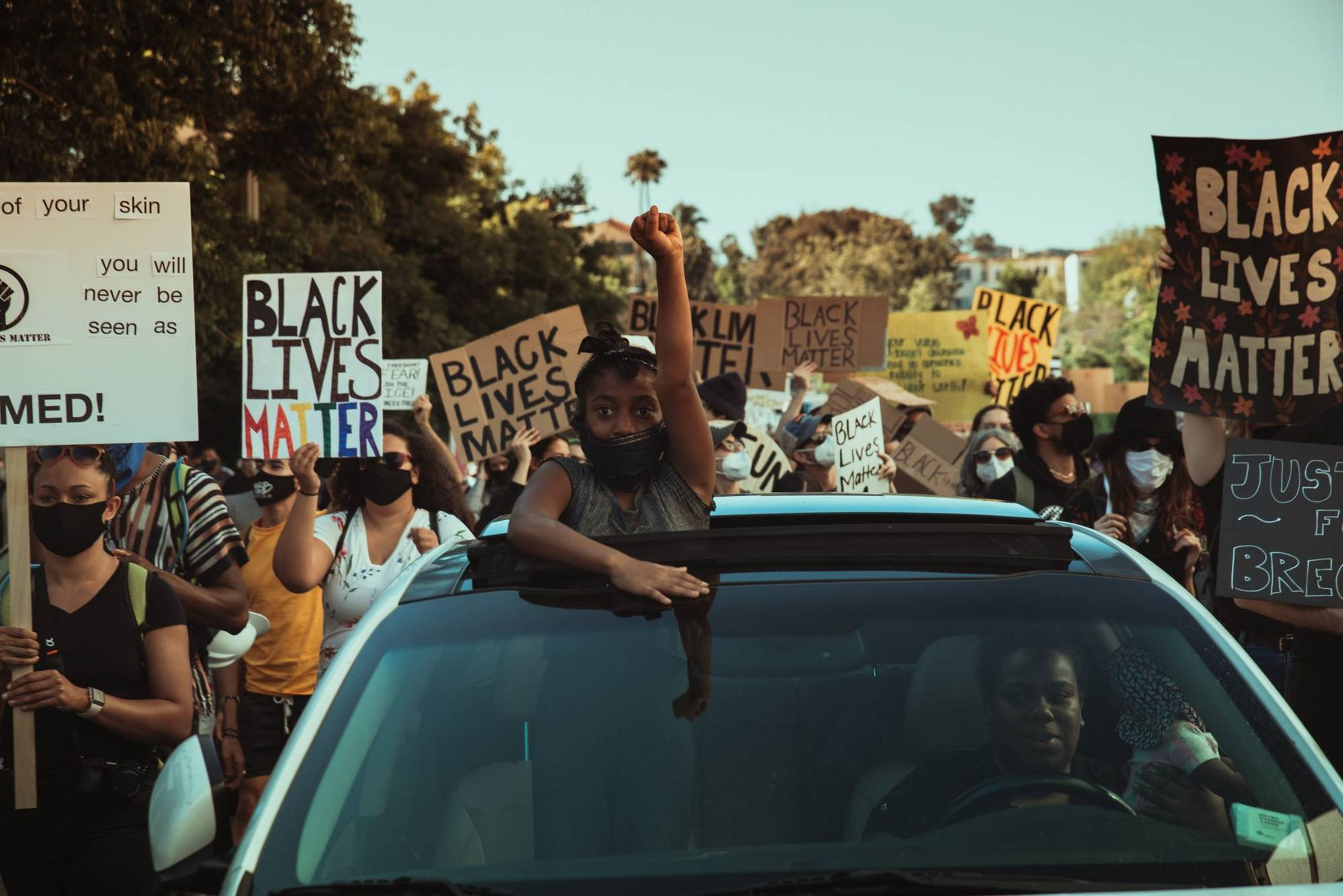 Black Lives Matters protesters on a Los Angeles street. Rewire PBS Out Future Protest