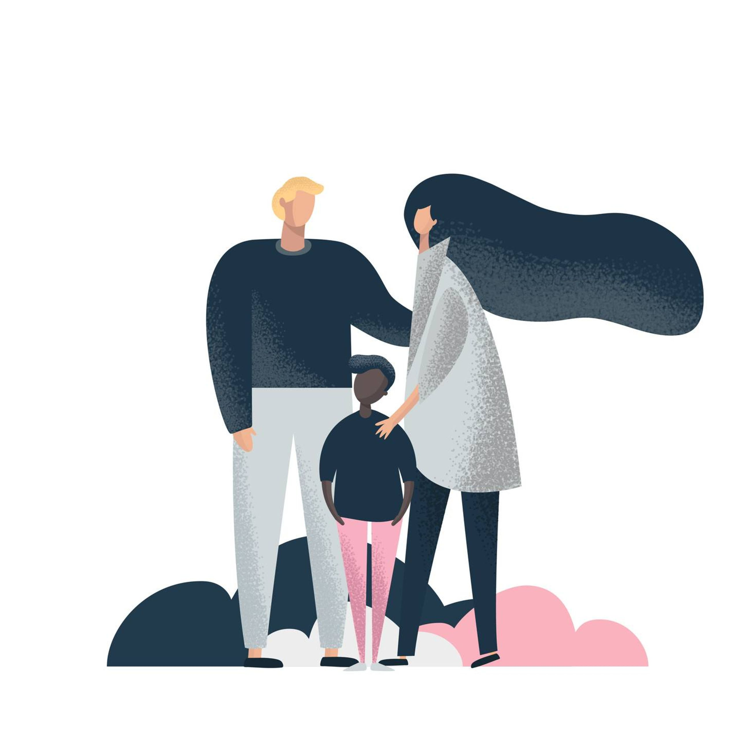 Illustration of an interracial family. Rewire PBS Our Future Interracial Transracial Adoptee