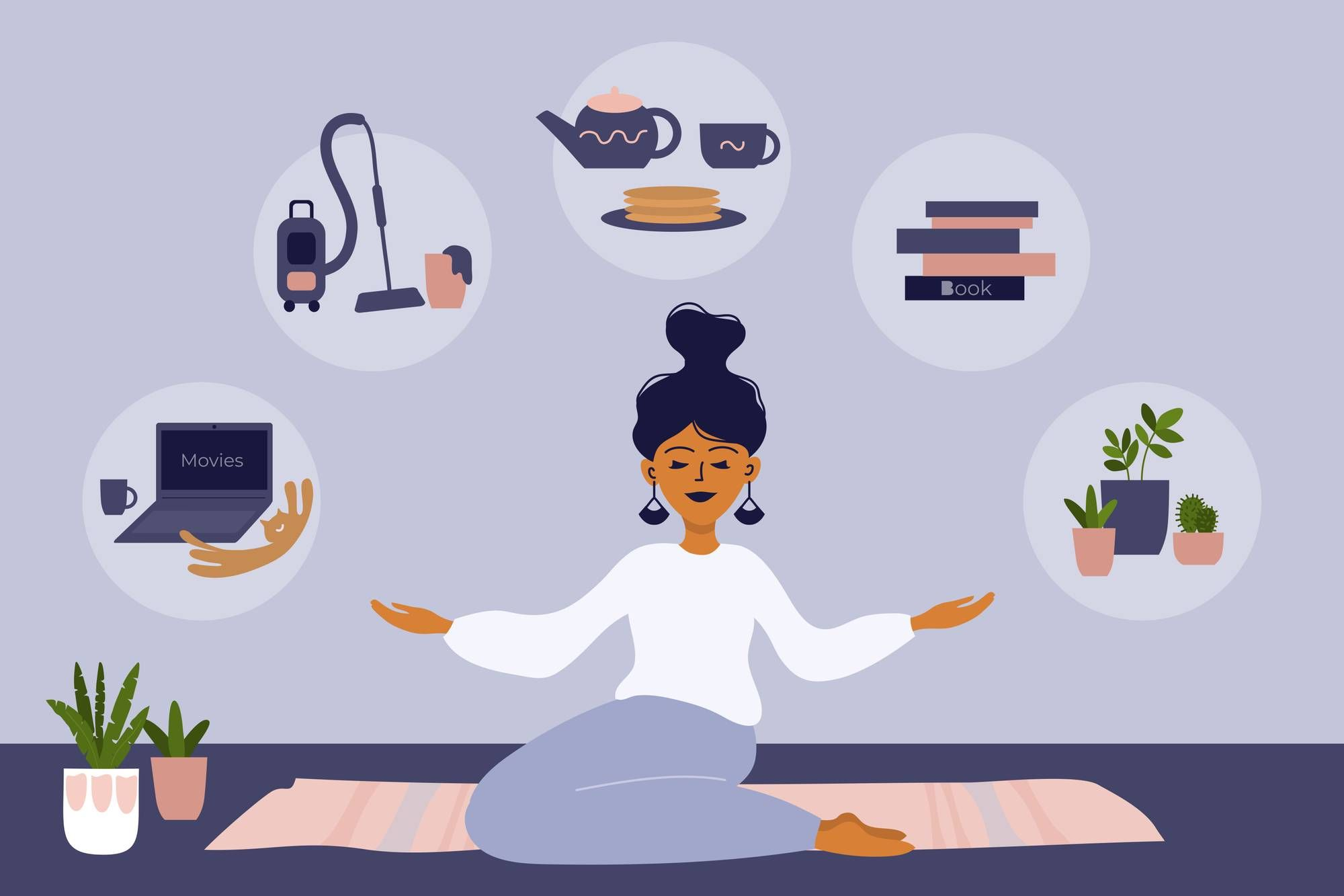 Illustration of a woman sitting on a mat at home REWIRE PBS Living Alone Living