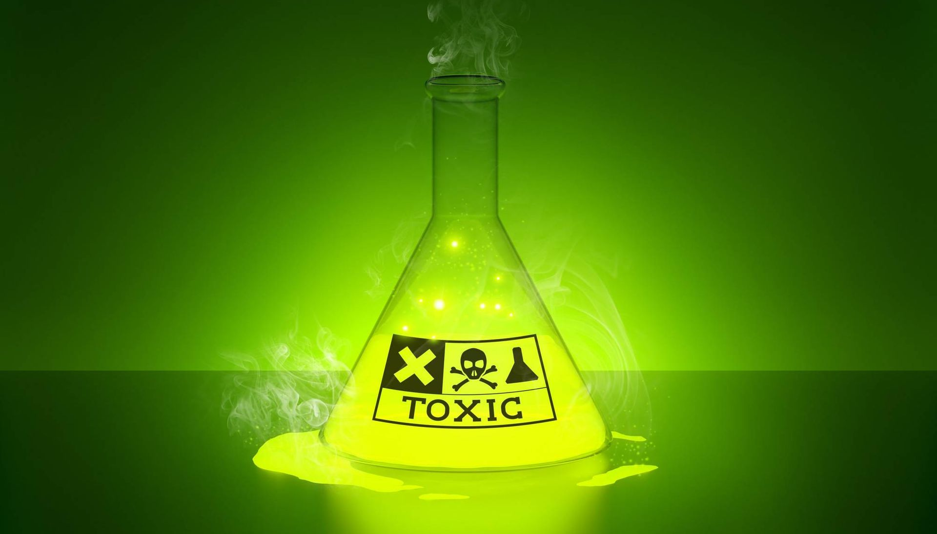 Toxic symbol on green-glowing beaker. Rewire PBS Love Toxic Positivity