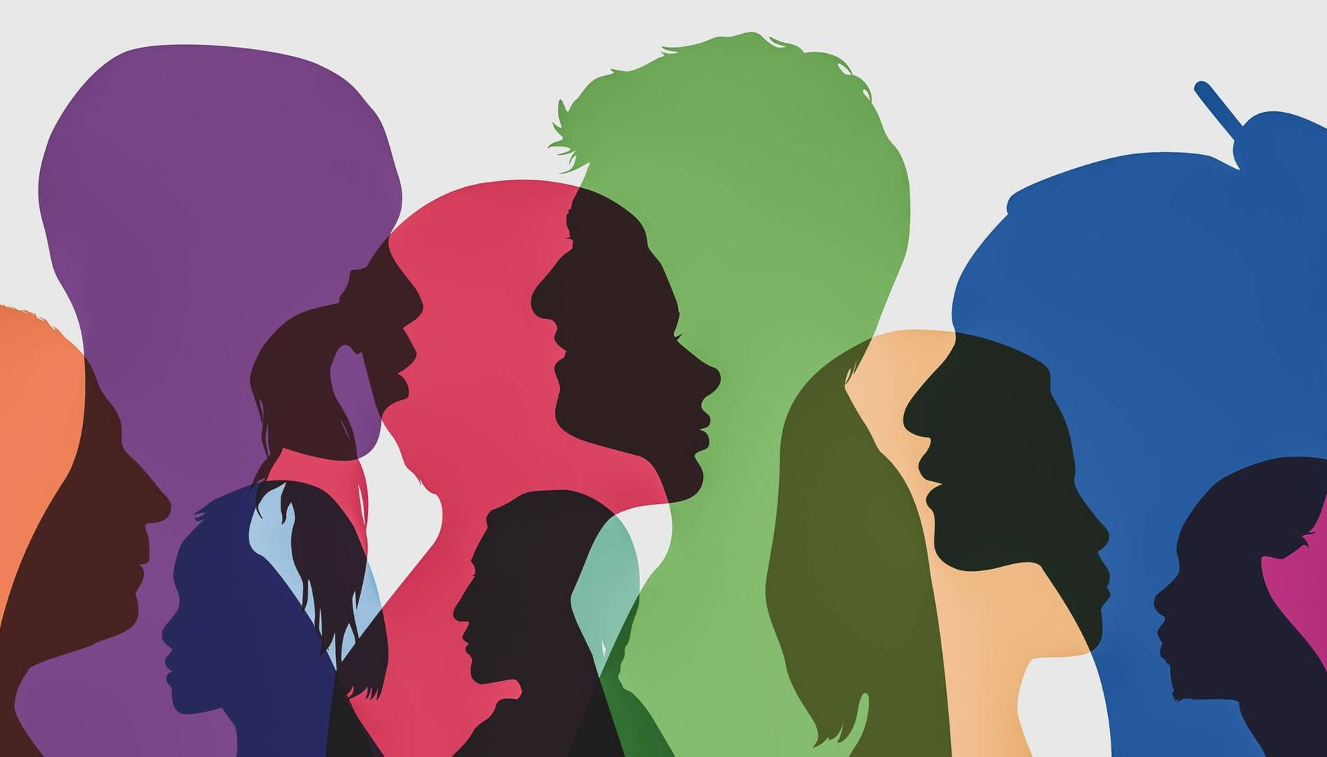 Spectrum of multi-colored heads. Rewire PBS Our Future Interracial Transracial Adoptees