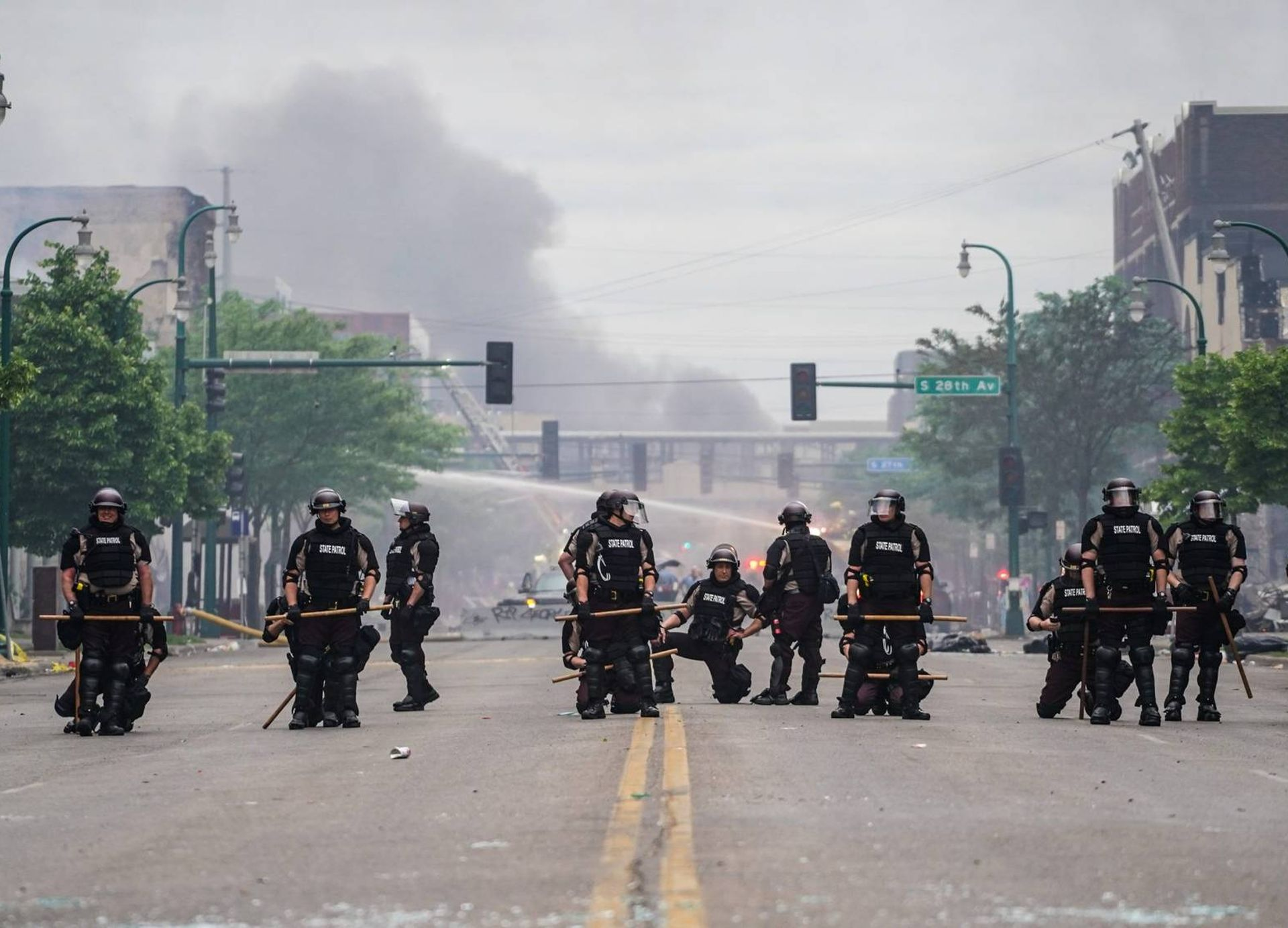 Riot police form a line on a Minneapolis street REWIRE PBS Black Lives Our Future