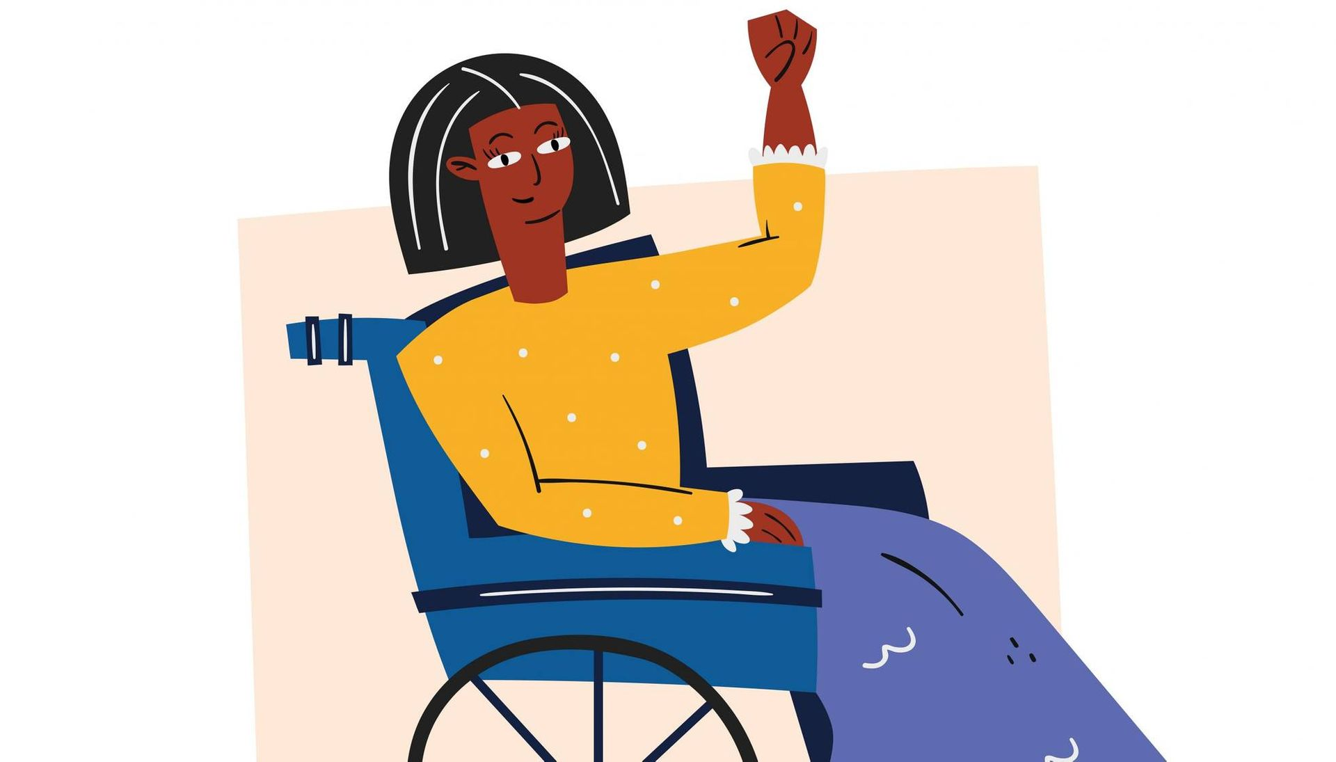 Woman in wheelchair with raised fist. Rewire PBS Our Future Disabled