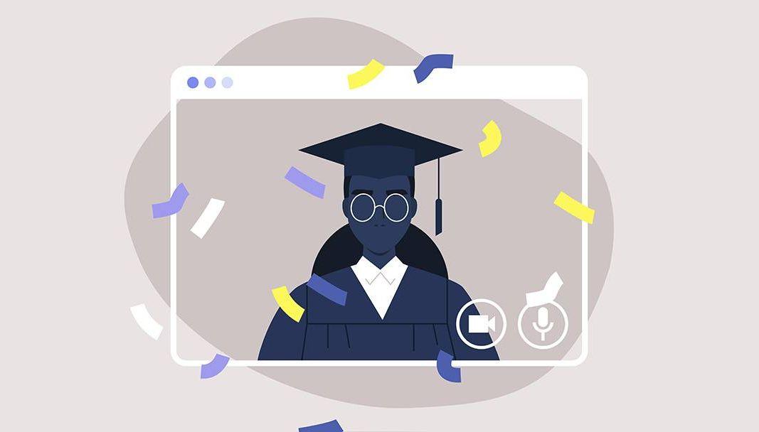 A woman graduates remotely via computer screen. REWIRE PBS Living Grad school