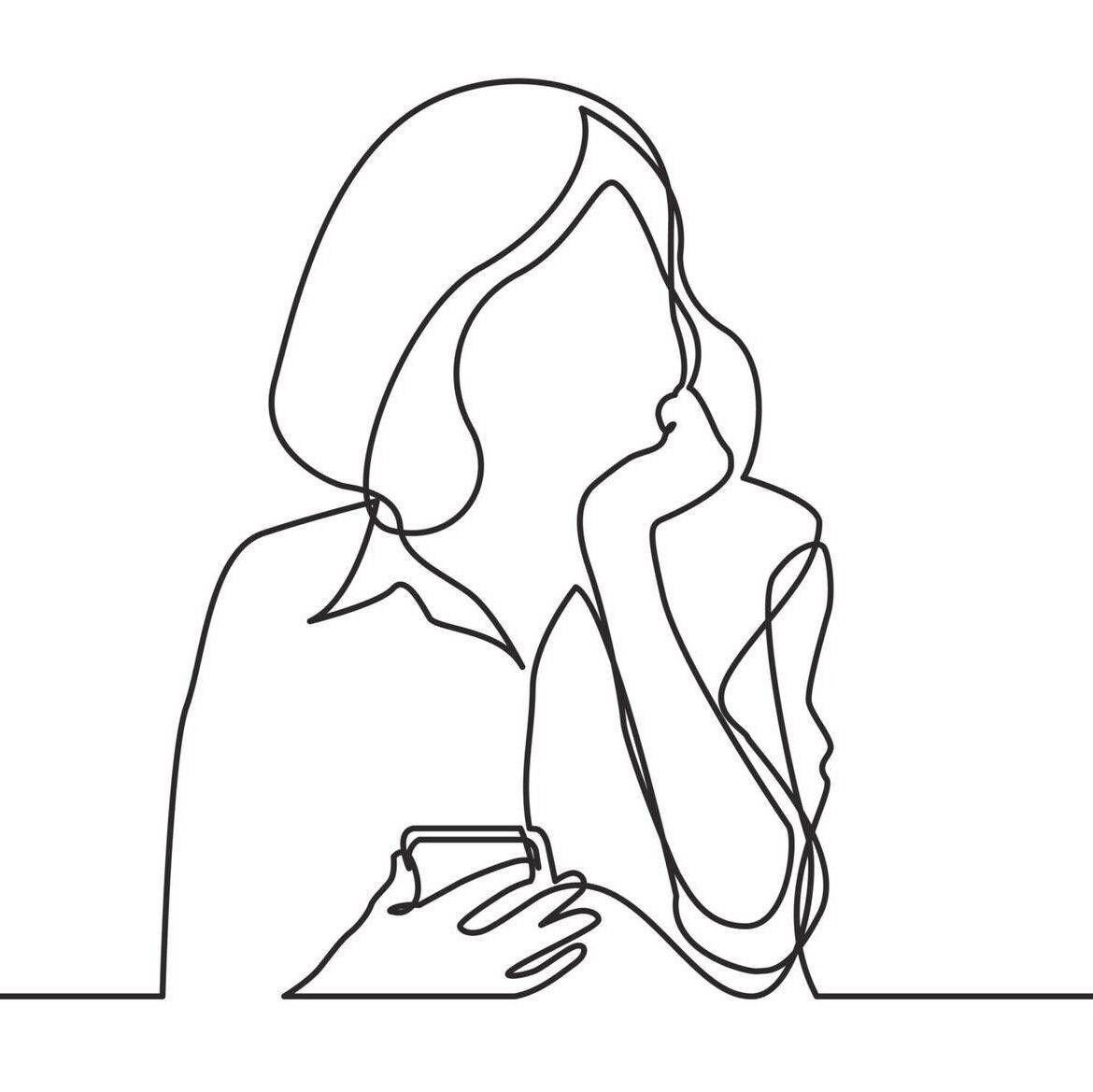 Line drawing of woman thinking with phone in hand. Rewire PBS Love Vulnerability