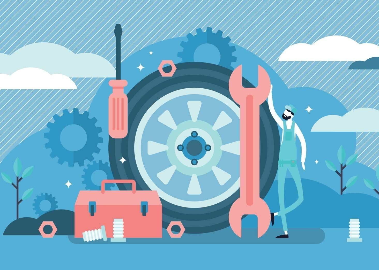 Illustration of a mechanic with a wheel and various tools. Rewire PBS Work Auto Industry