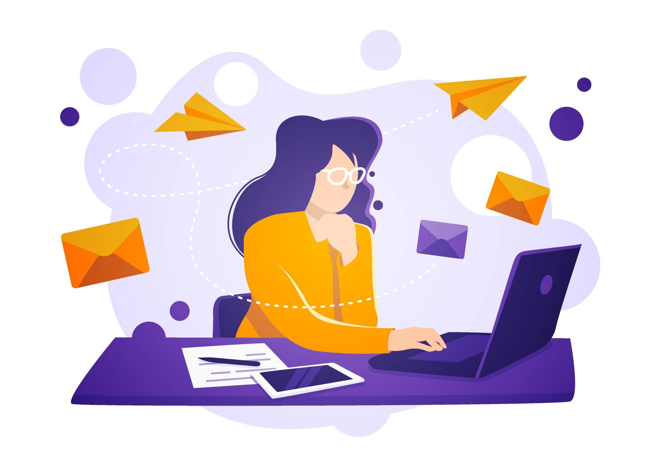 Illustration of woman using laptop to send email. Rewire PBS Work Introverts