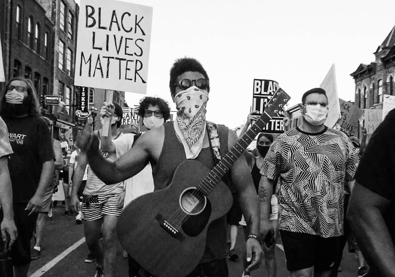 Devon Gilfillian marches with Black Lives Matter protesters on the street in Nashville, Tennessee. Rewire PBS Our Future