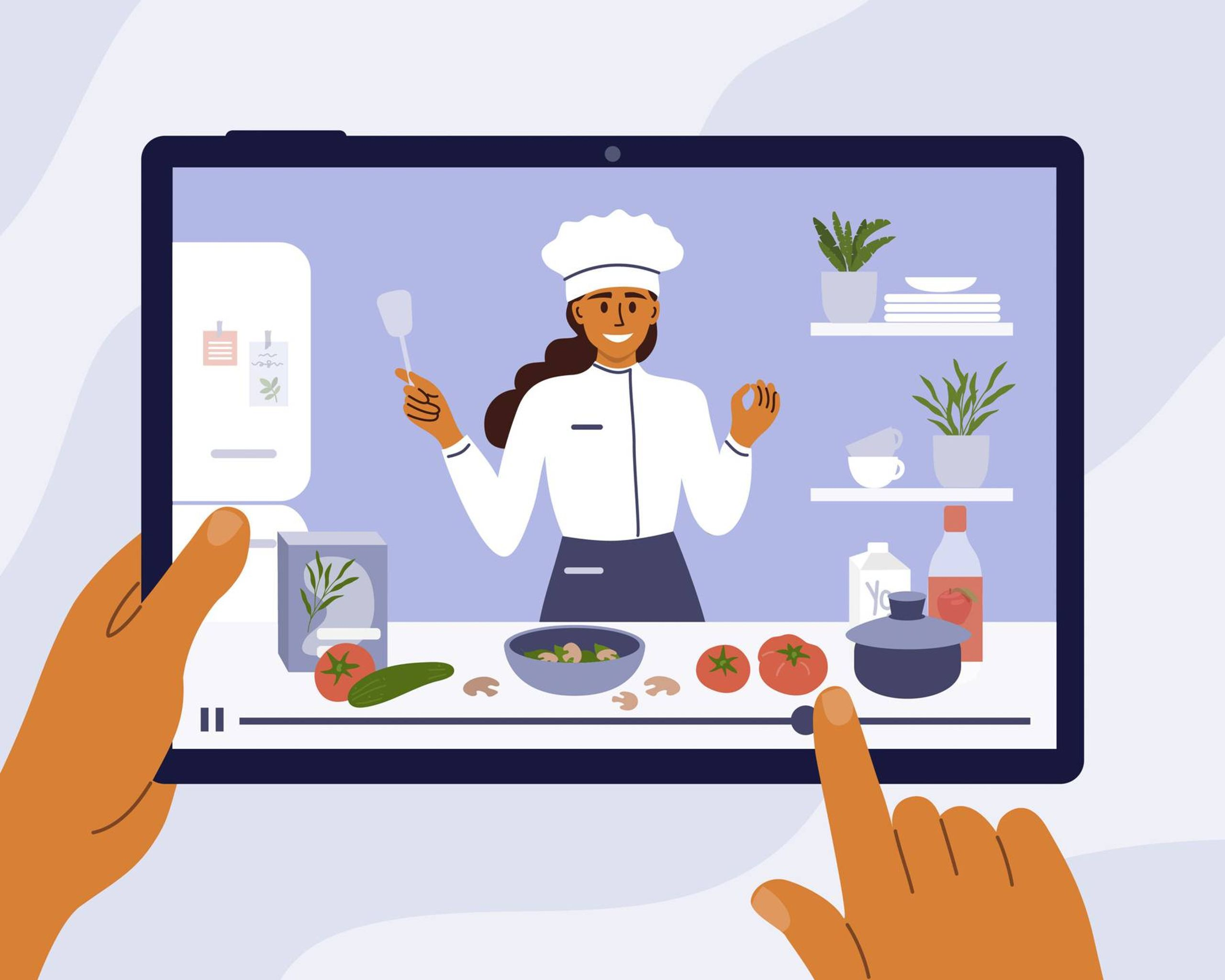 Hands interact with online cooking class on mobile device. Rewire PBS Health Loneliness