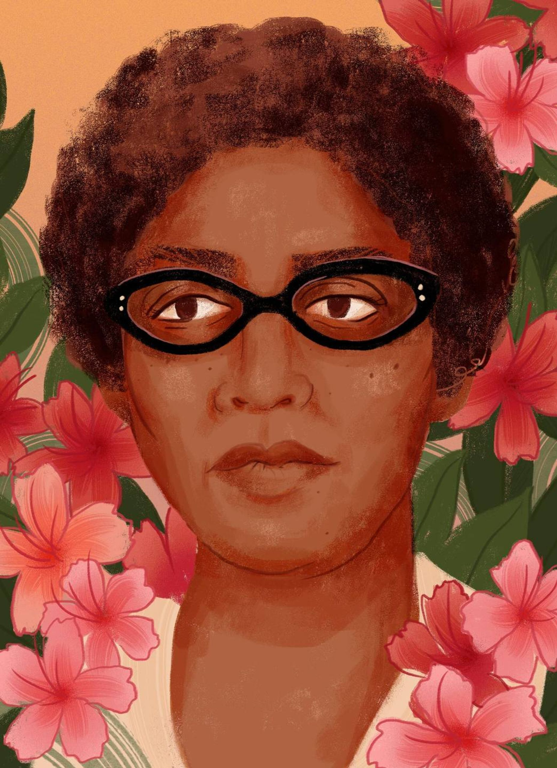 Illustration of Audre Lorde by Stephanie Kubo. Rewire PBS Our Future She Votes