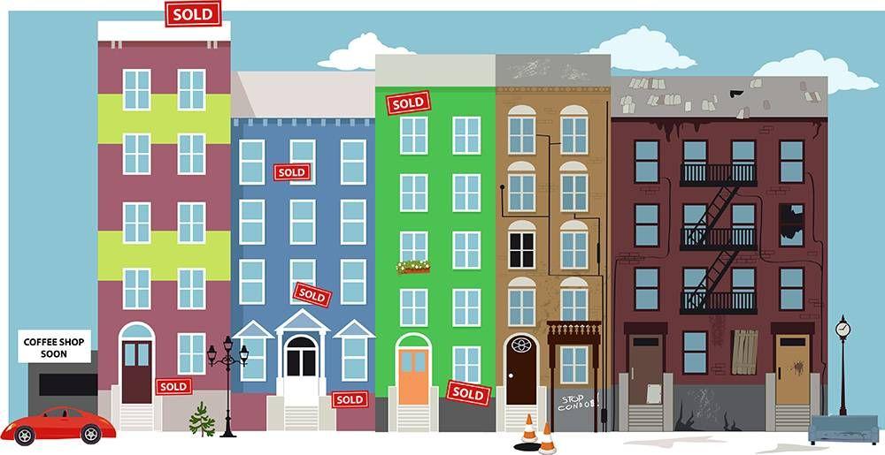 a gentrifying neighborhood. REWIRE PBS Our Future gentrifier