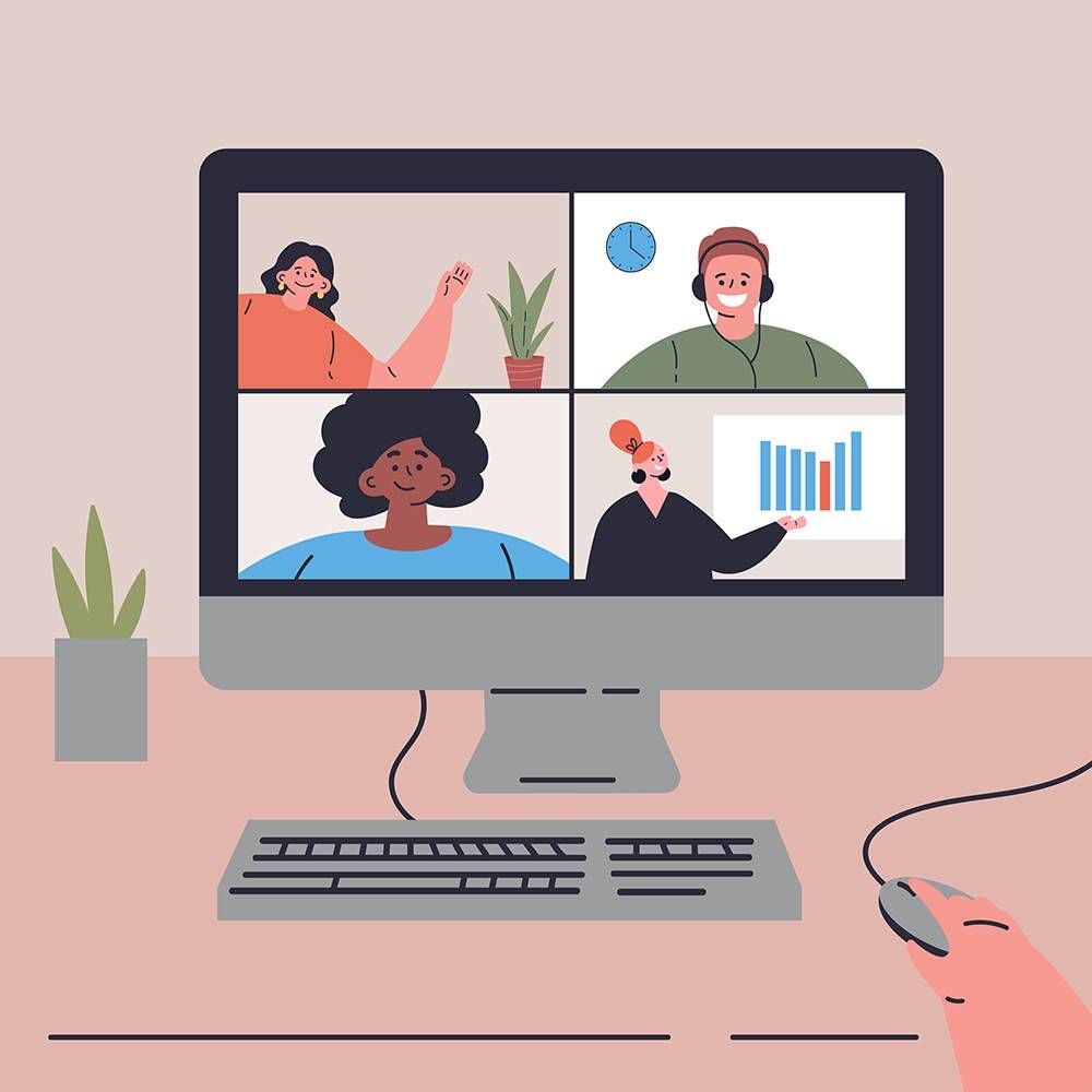 A video conference call in an internship remote work. REWIRE PBS Work virtual internship