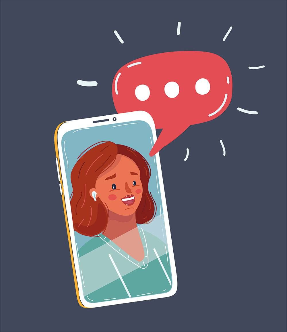 a woman talking on the phone video call. REWIRE PBS Living talk to anyone