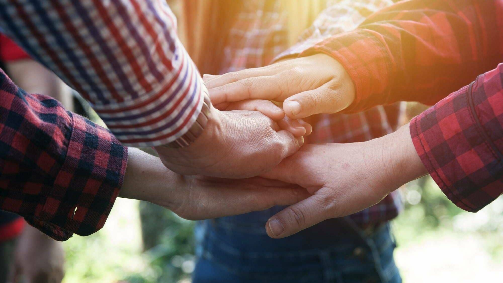 Hands joining together, many attached to red-and-black-checked flannel-covered arms. Rewire PBS Living Commune
