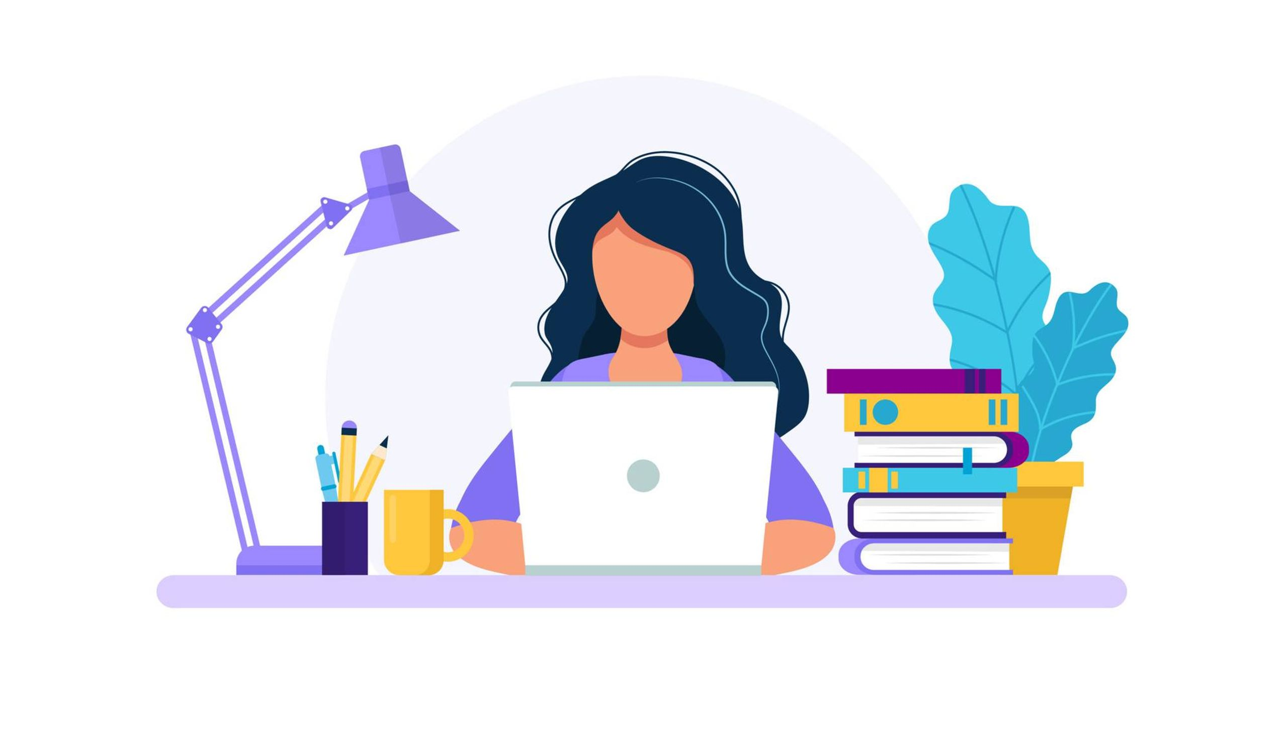 Illustration of a woman sitting at a desk in front of an open laptop, surrounded by books and a lamp and a plant. Rewire PBS Work Self-advocate