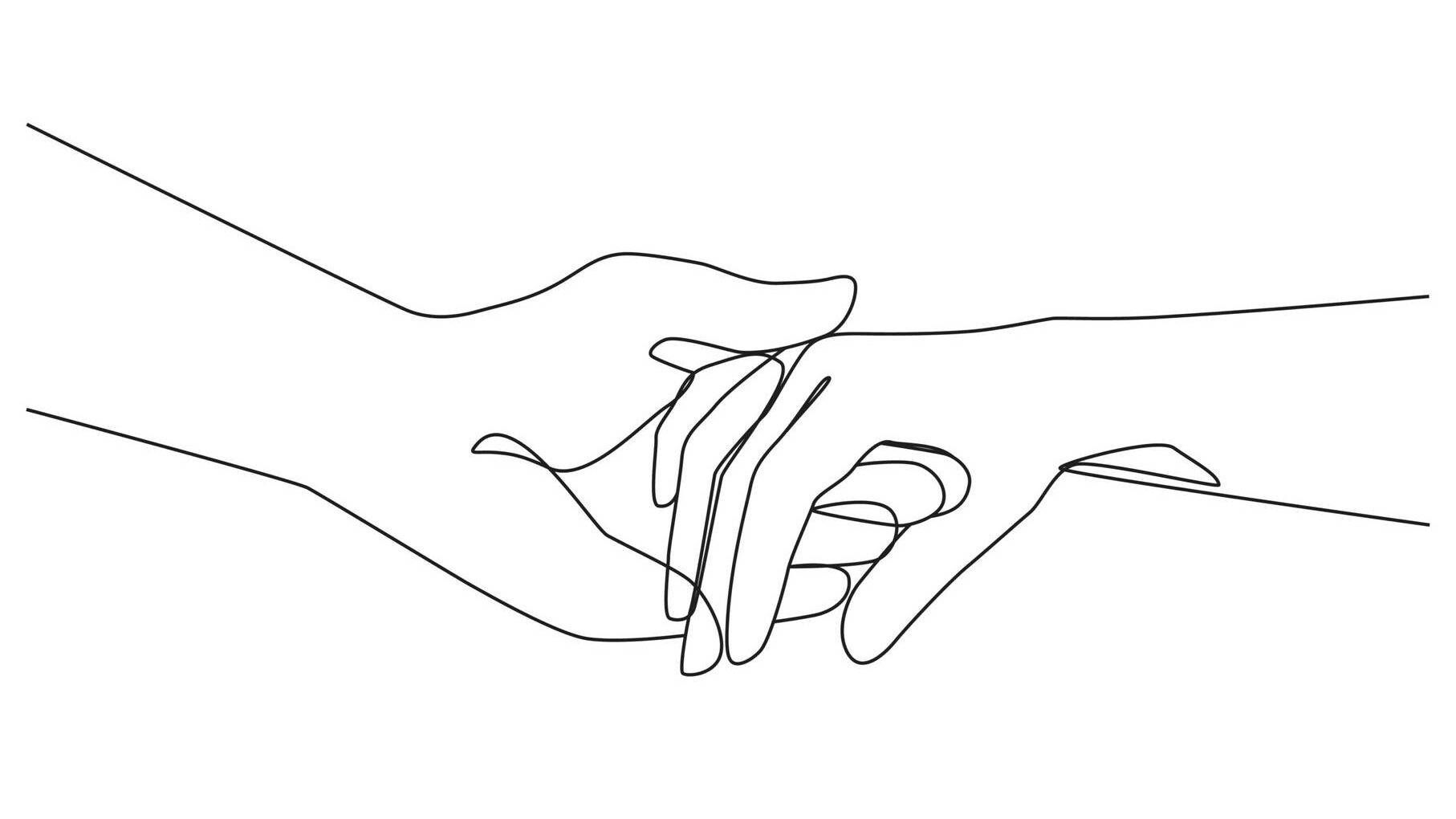Line illustration of hands holding. Rewire PBS Health Suicide Ideation