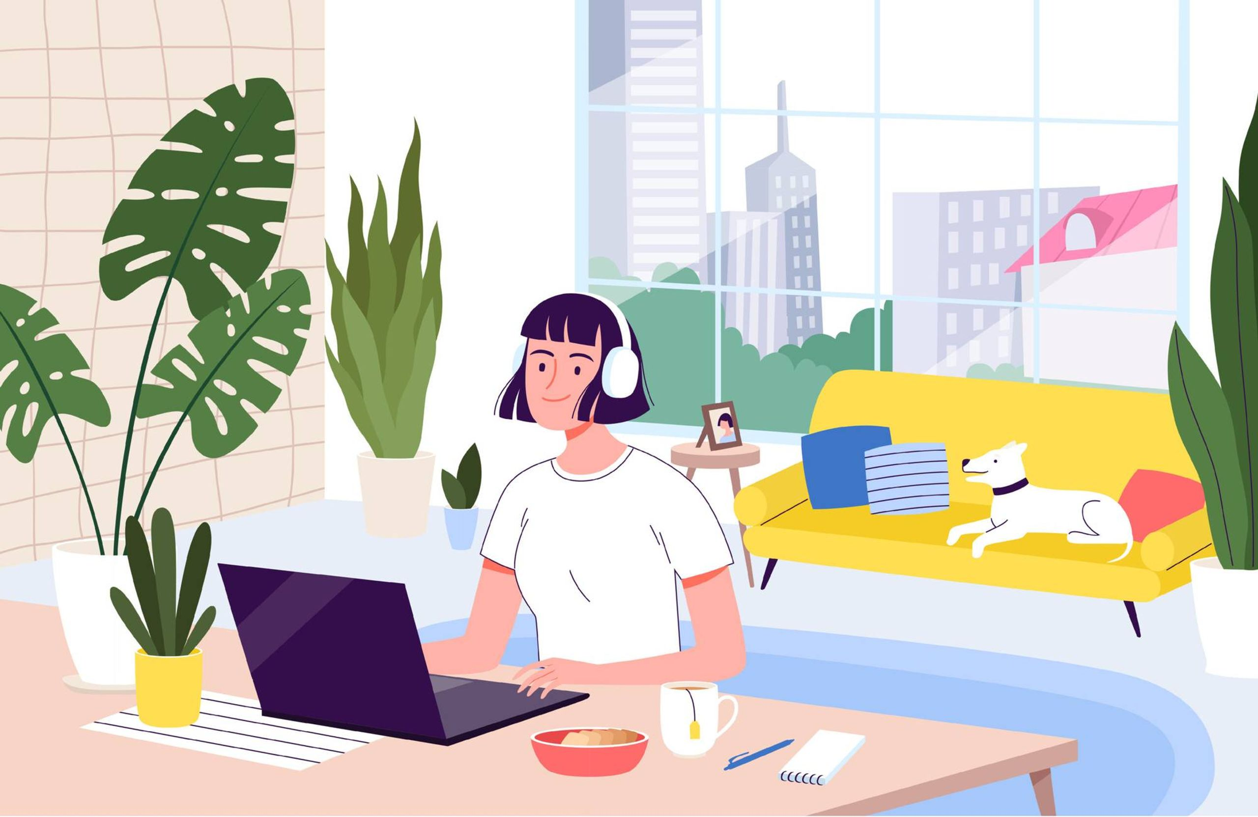 Illustration of woman sitting in an apartment at a desk with open laptop while wearing headphones. Rewire PBS Work Working from home