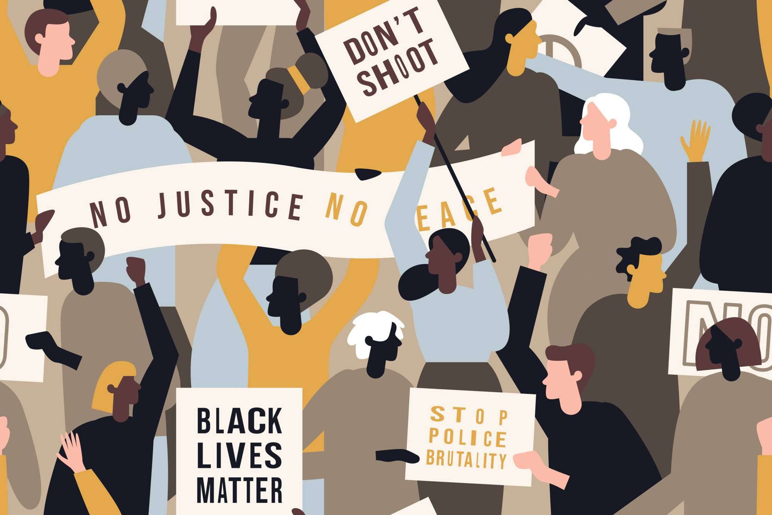Illustration of Black Lives Matter protesters with signs. Rewire PBS Our Future Performative Activism