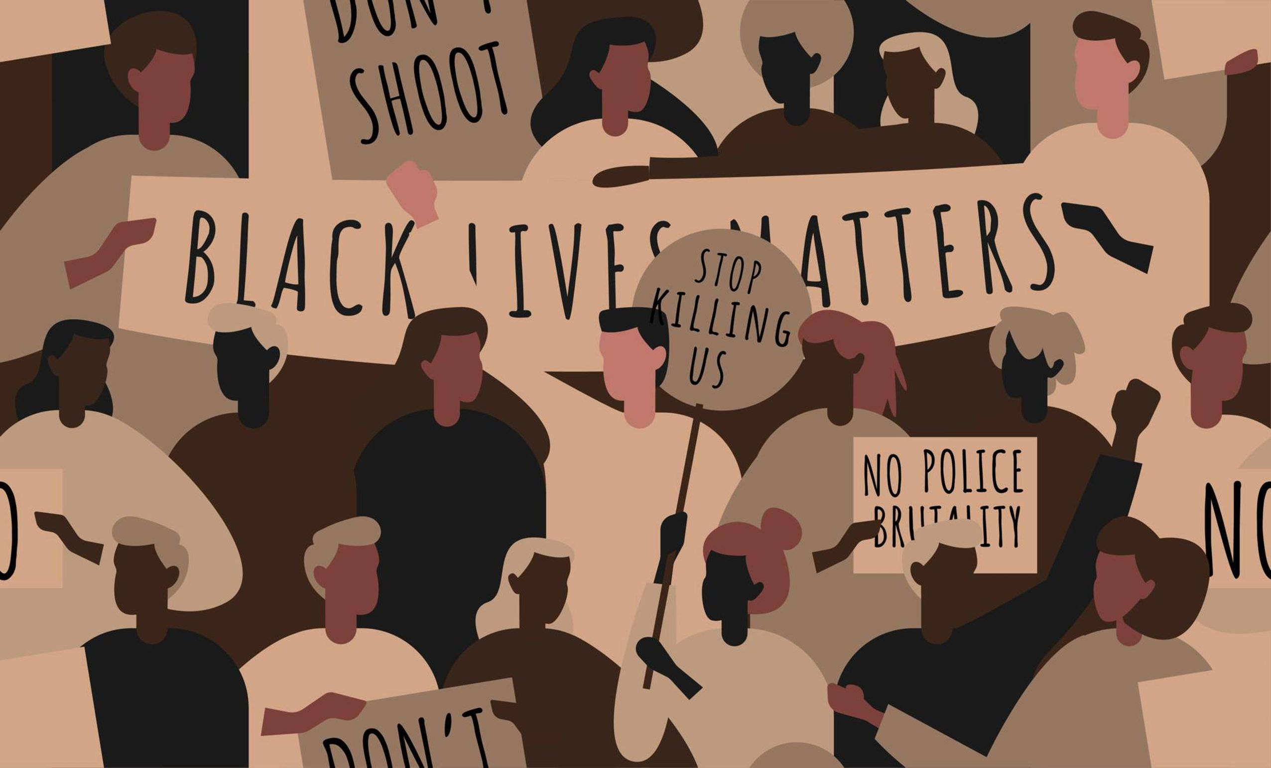 Illustration of Black Lives Matter protesters holding signs. Rewire PBS Our Future Racism Immigrant Parents