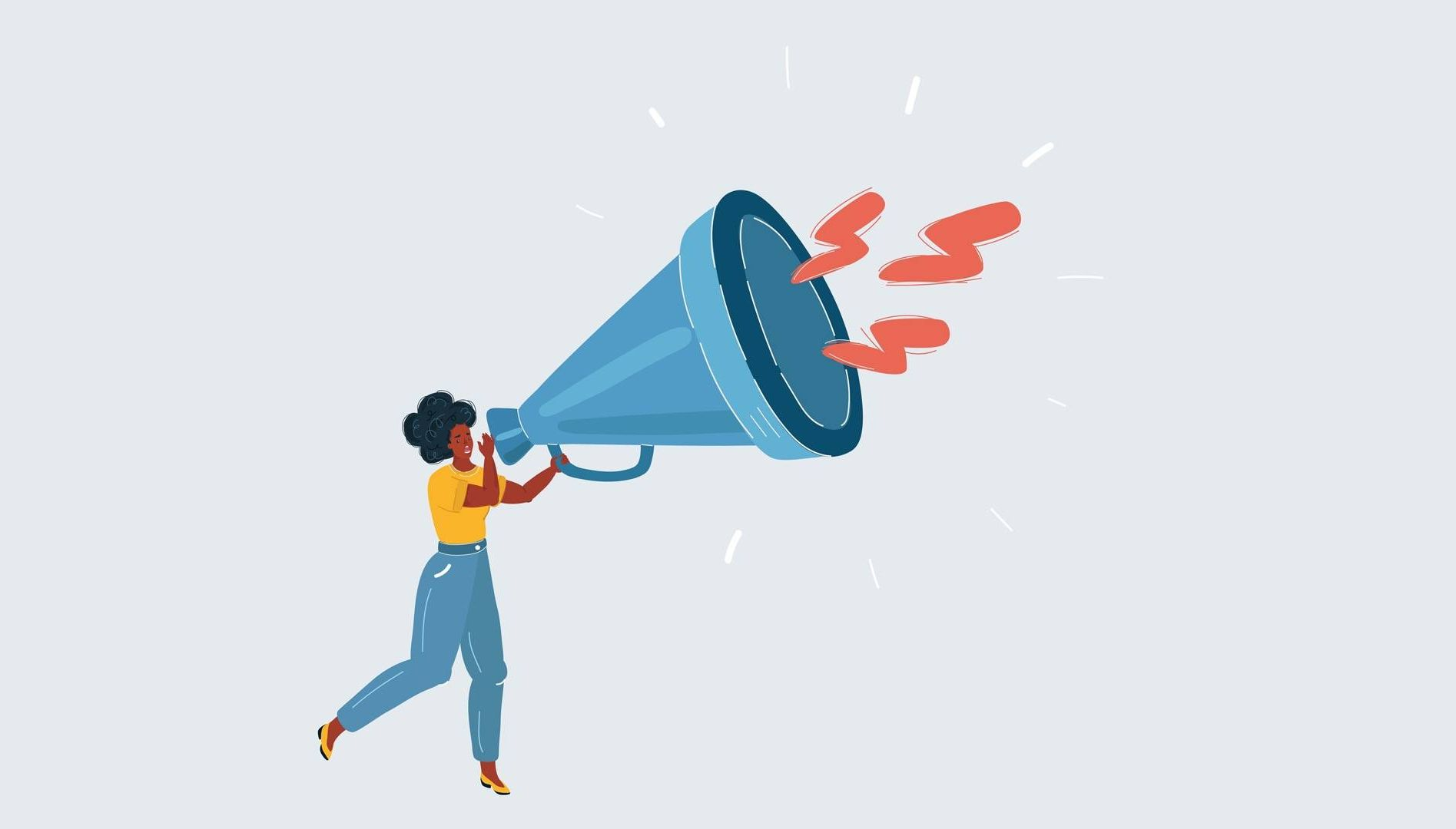 Illustration of woman holding megaphone.