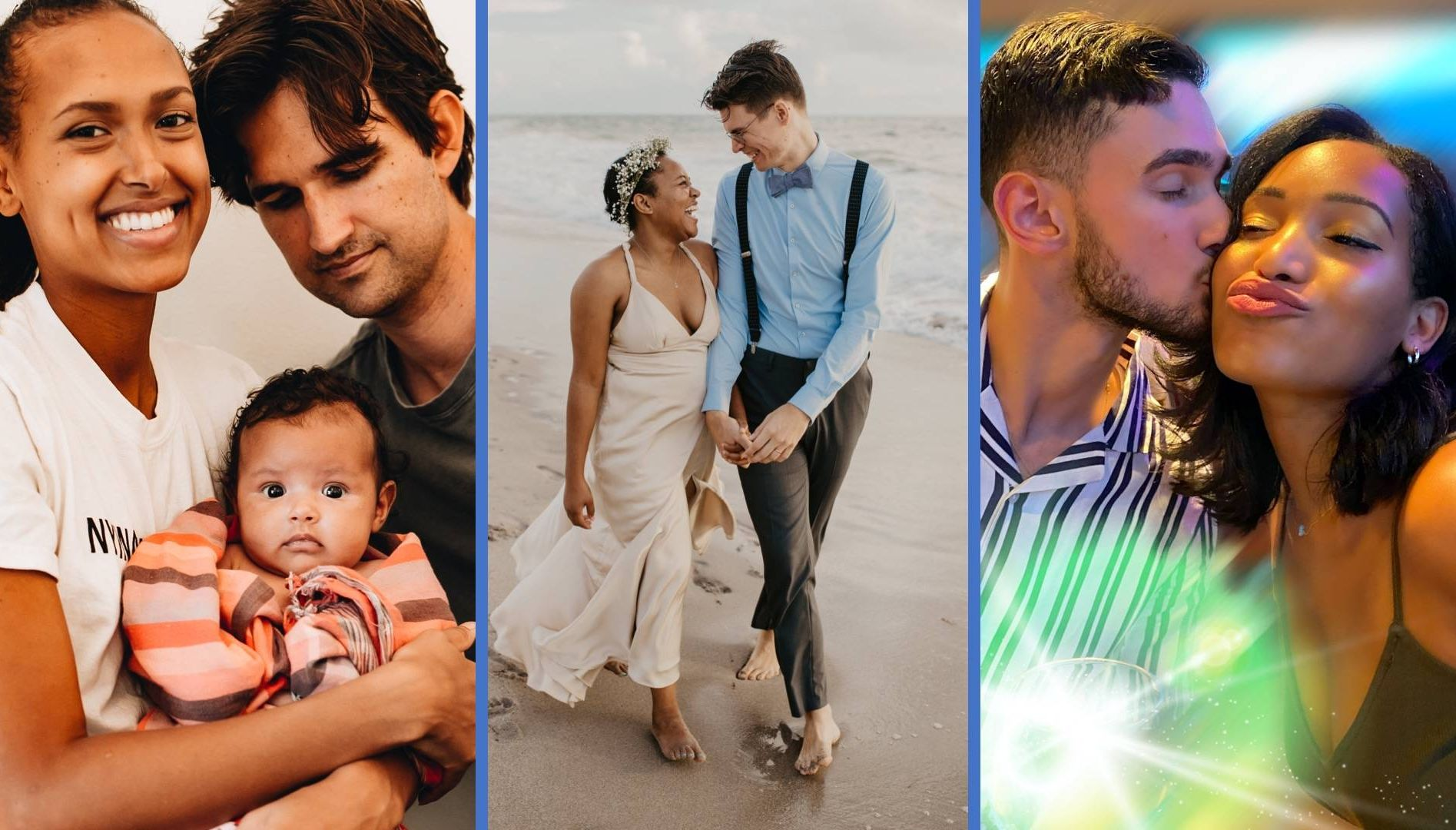 Collage of three images of interracial couples REWIRE PBS Our Future Love interracial relationship couple