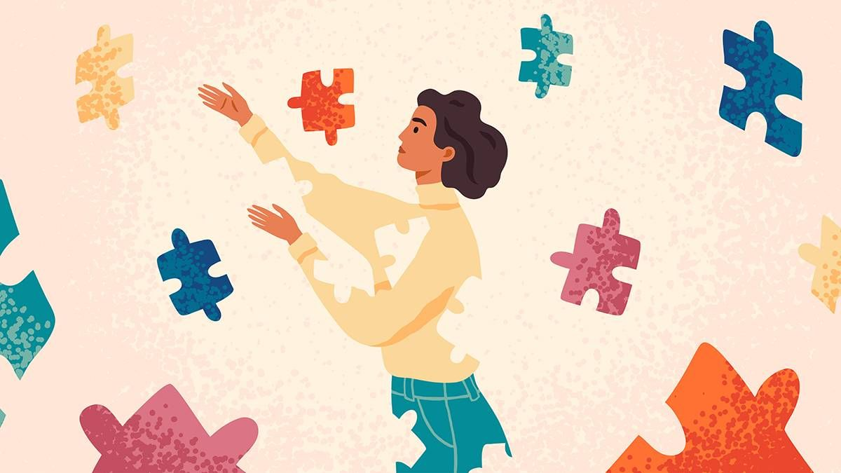 a woman working through mental puzzle pieces. REWIRE PBS Love parents divorce