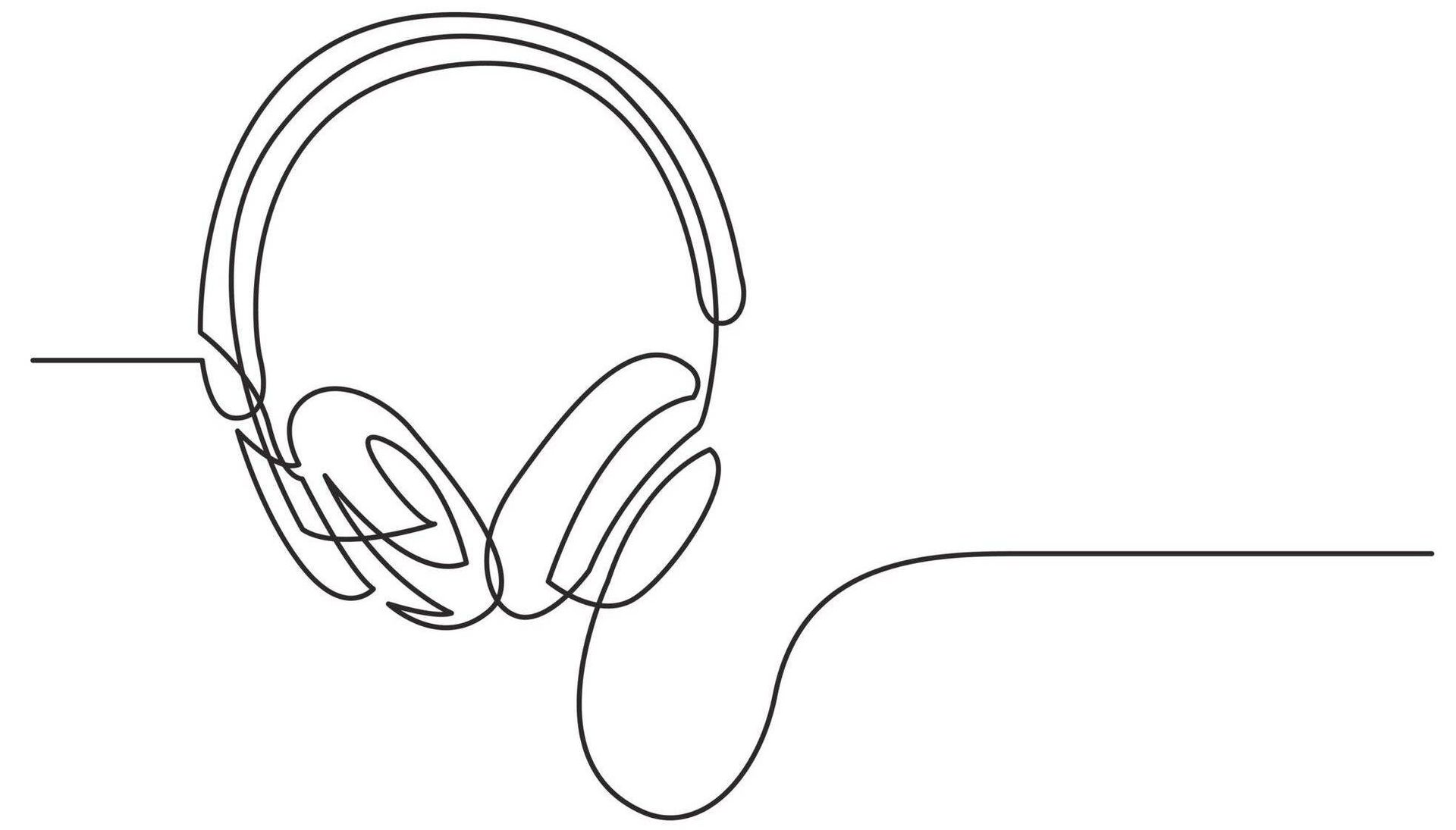 Line drawing of headphones, Rewire, Living, Mental Health Podcasts PBS