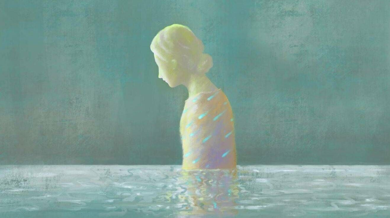 Sadness woman in water, surreal painting illustration. Depression triggers, Rewire