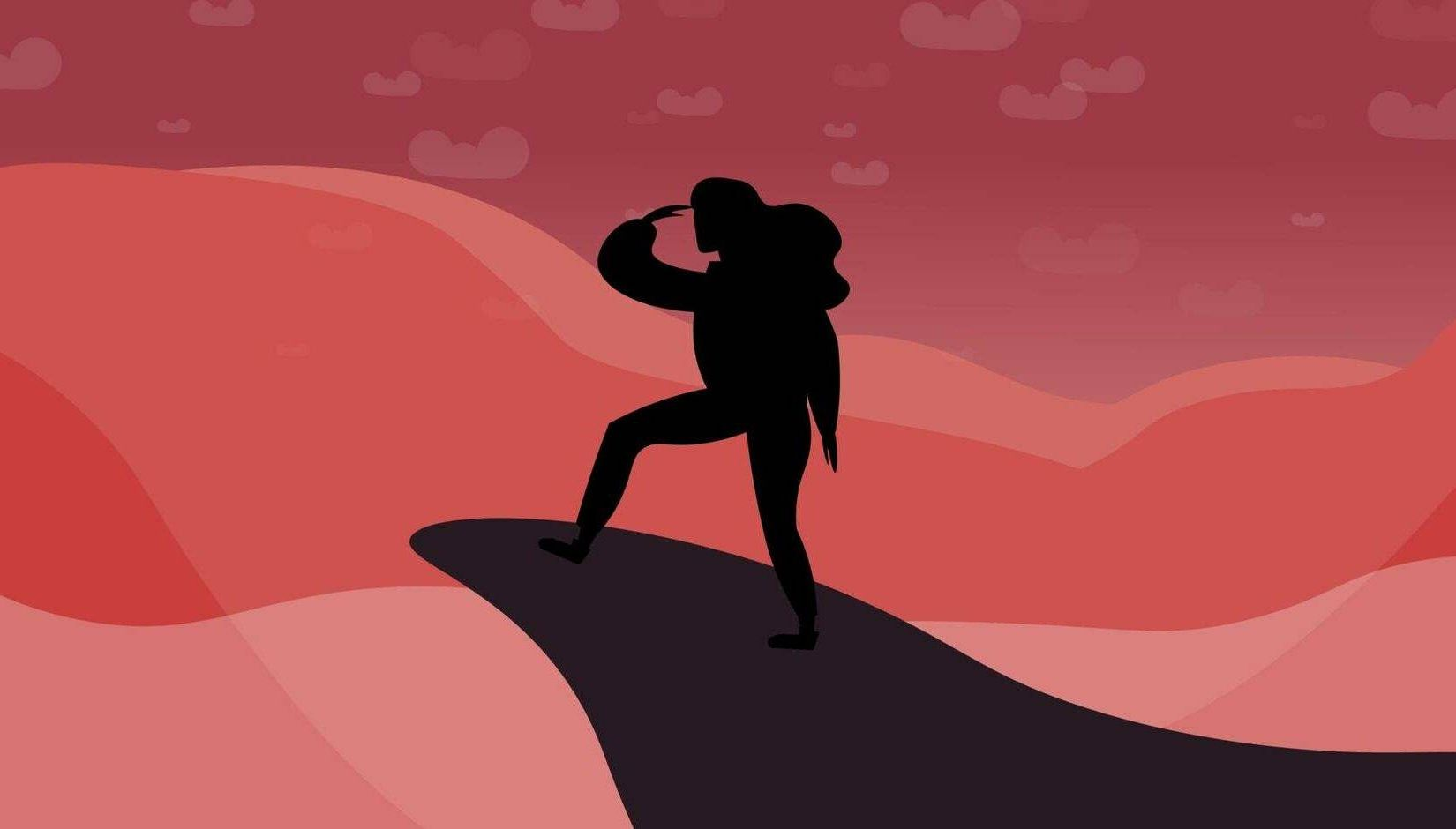 Illustrated silhouette of a traveler standing on top of a mountain