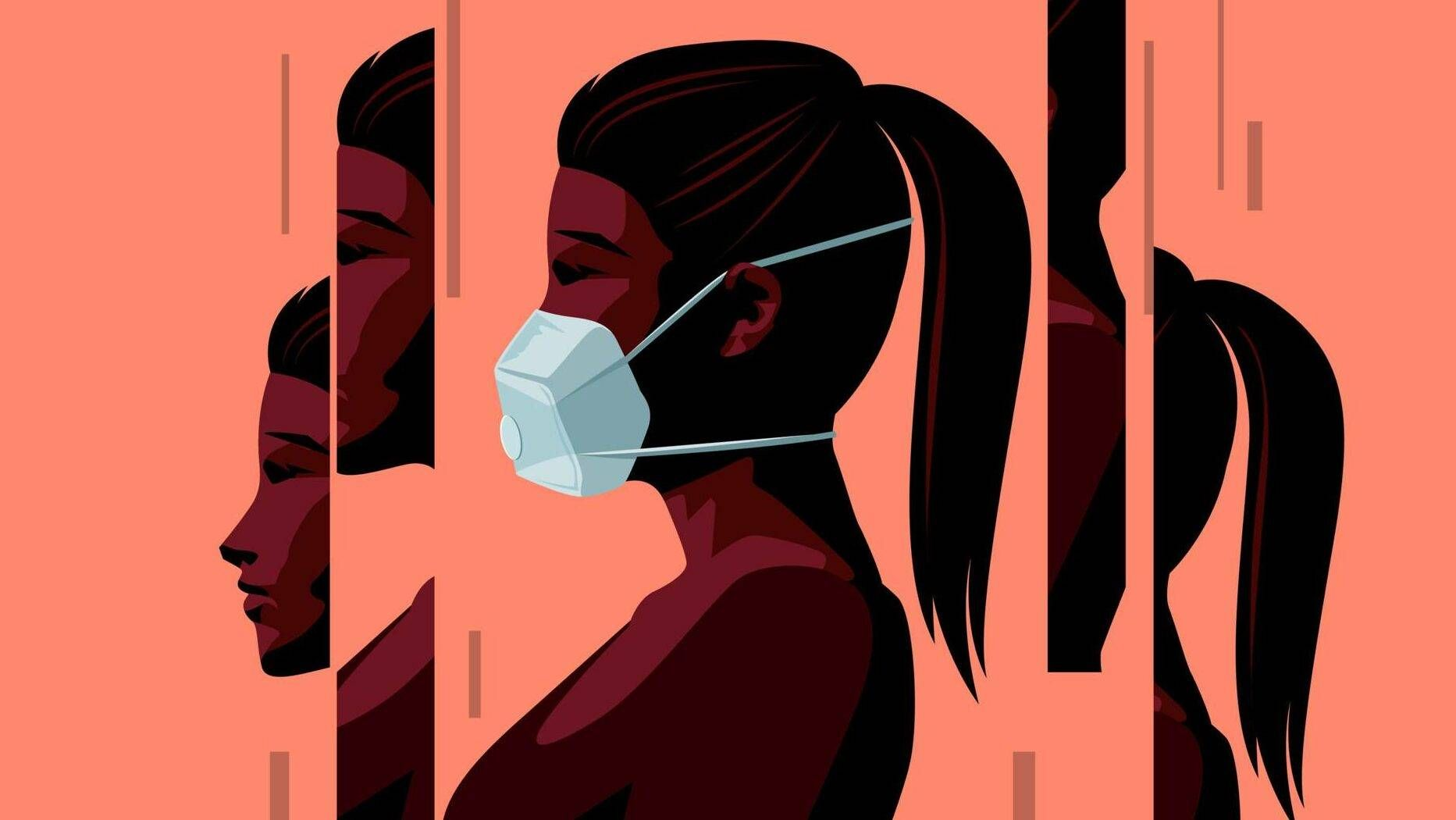 Illustration of a woman wearing a face mask during the Covid-19 coronavirus outbreak. Rewire, Living, suicide prevention