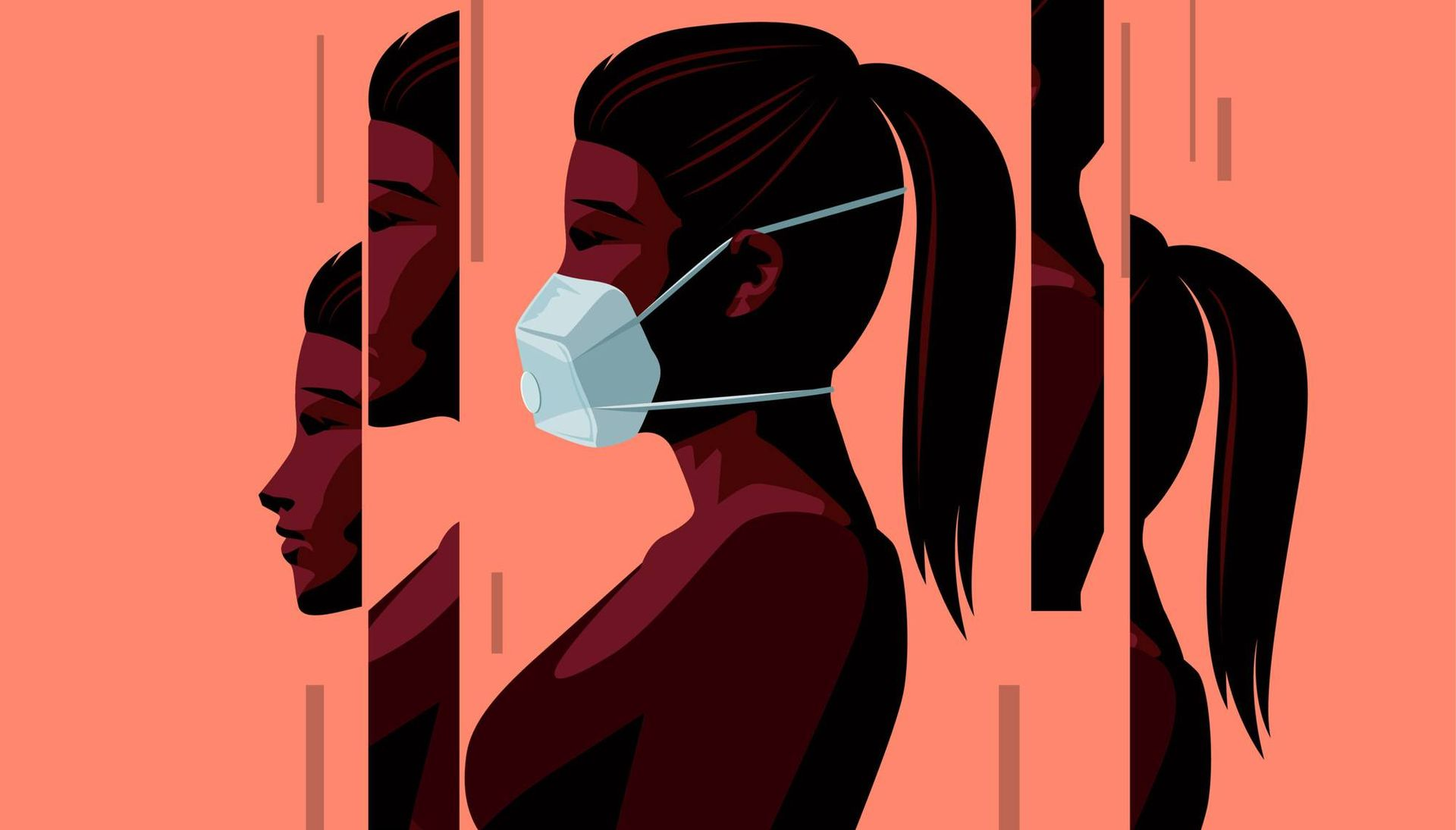 Illustration of a woman wearing a face mask during the Covid-19 coronavirus outbreak.