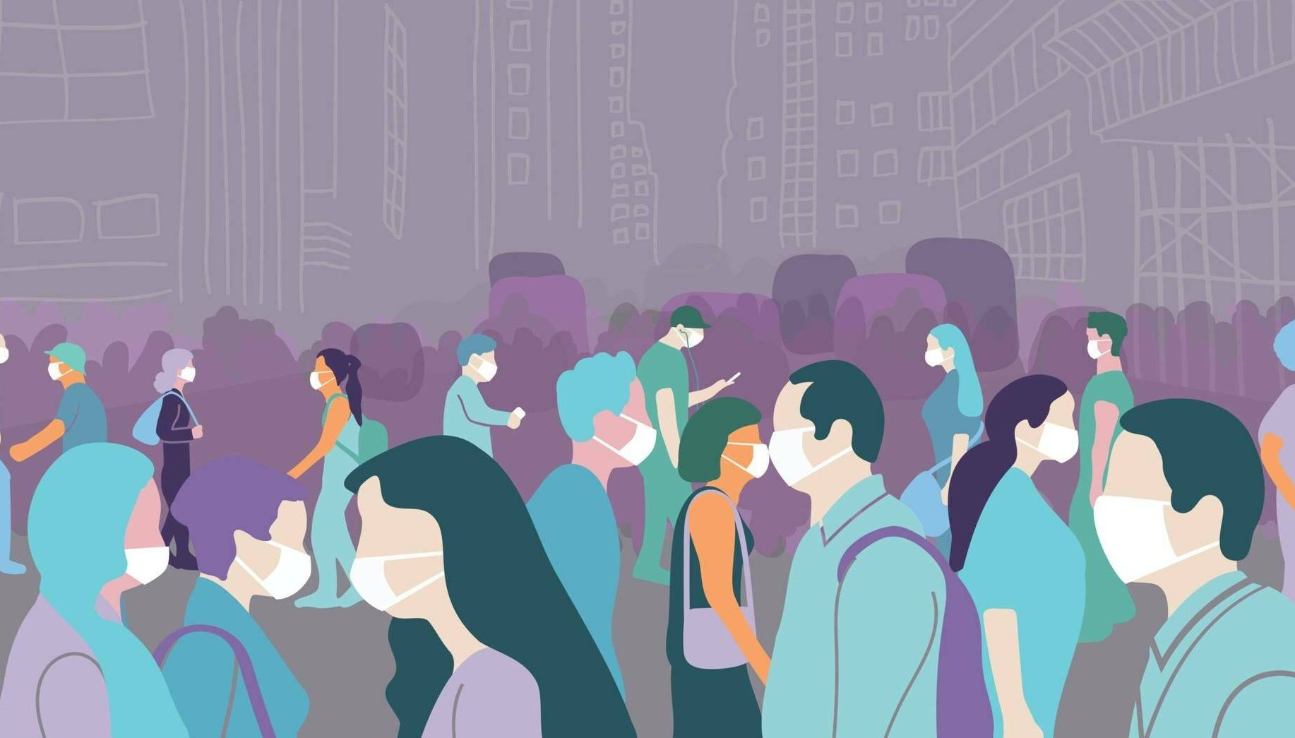 Illustration of crowd walking in a large city during covid-19 pandemic wearing face mask to protect themselves. Rewire PBS Health Covid anxiety