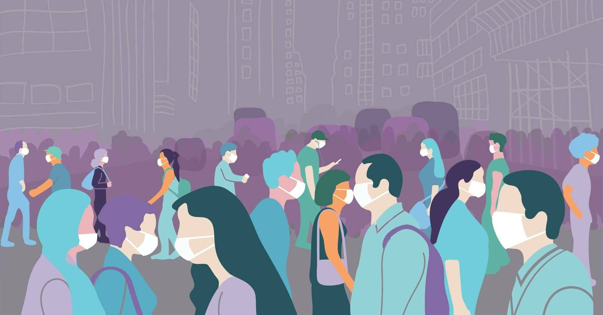 Illustration of crowd walking in a large city during covid-19 pandemic wearing face mask to protect themselves. Rewire, COVID anxiety