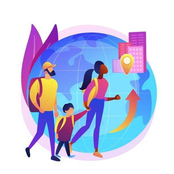 Illustration of family immigrating to new country, walking in front of a huge globe, life outside the US