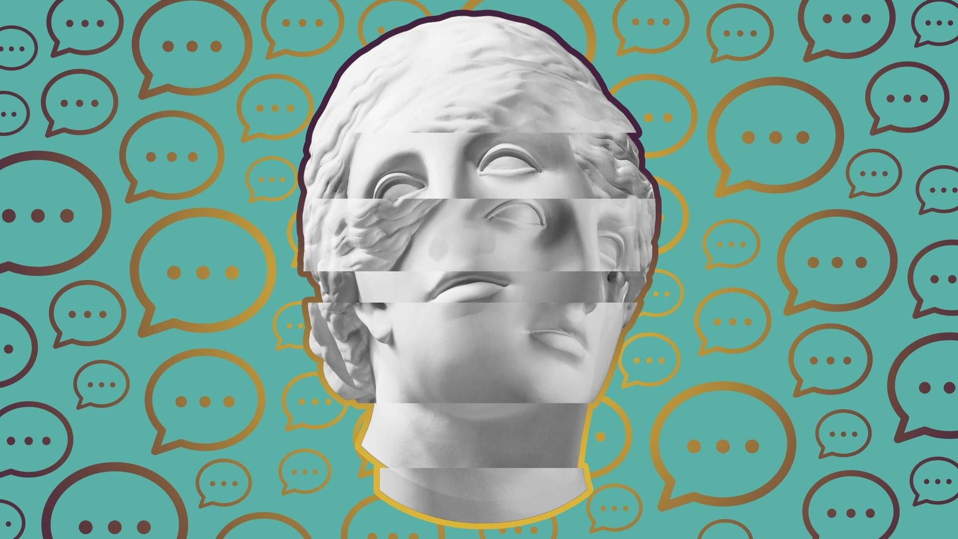 Two different marble busts are intercut over a backdrop of chat bubbles. Rewire Ask Me Instead