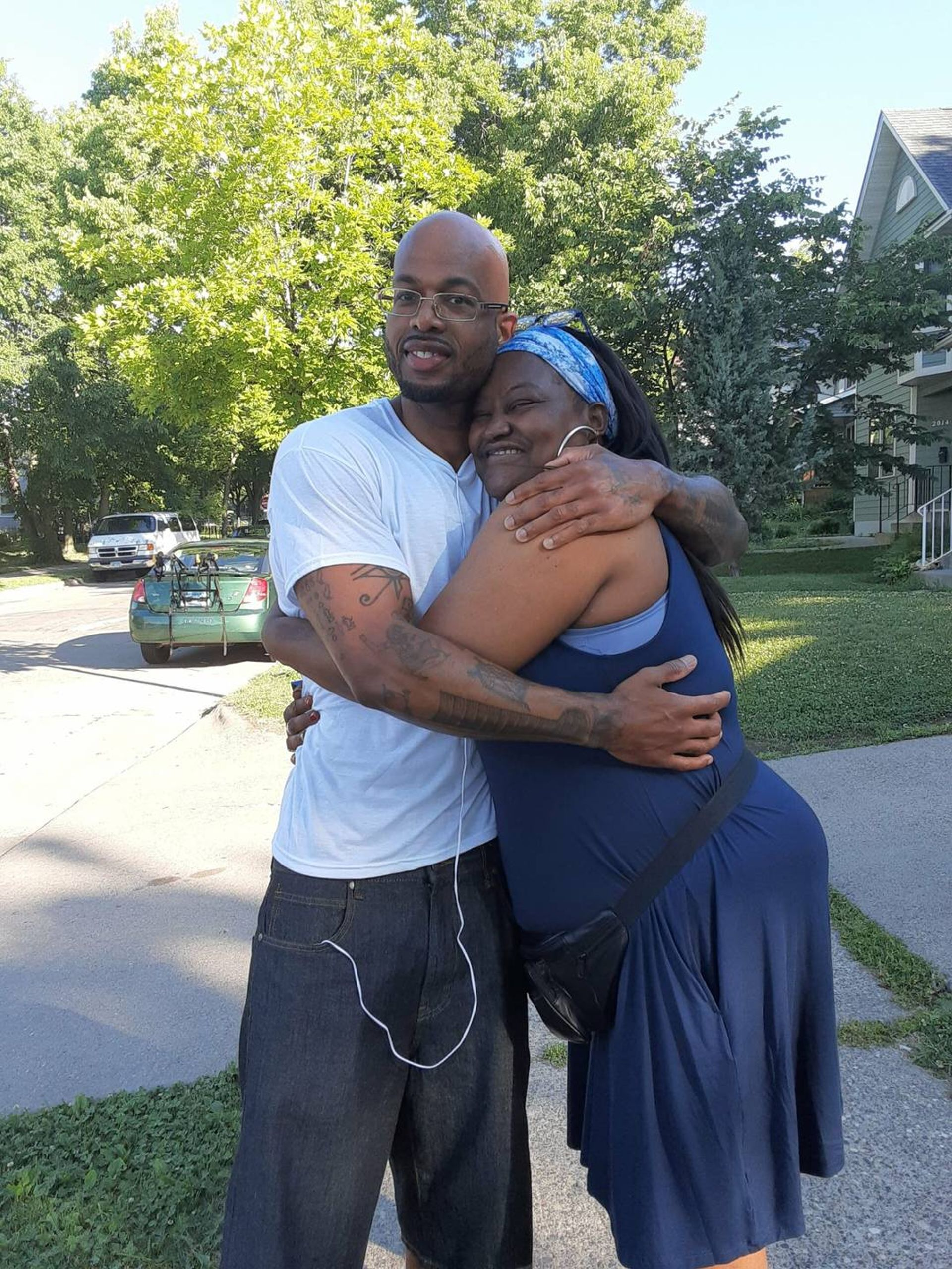 A photo of Antonio Williams hugging his mother. Rewire PBS Our Future Can't Vote