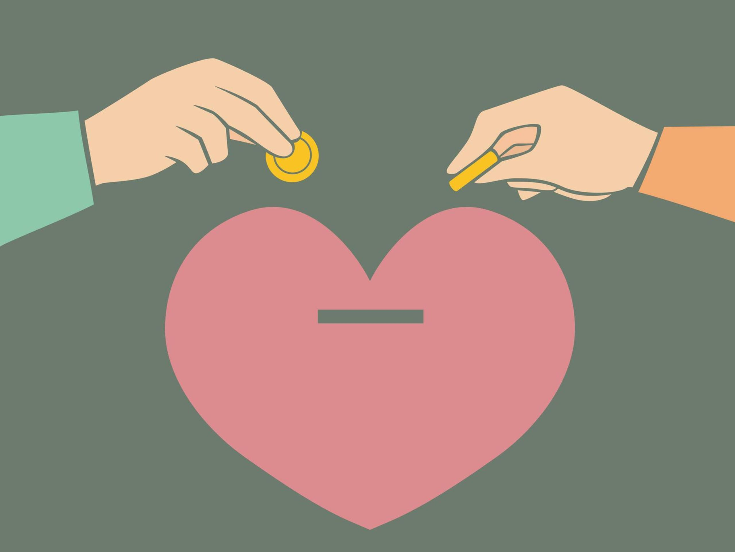Illustration of Two Hands of Couple inserting coins into Heart-shaped Bank, combine finances, rewire