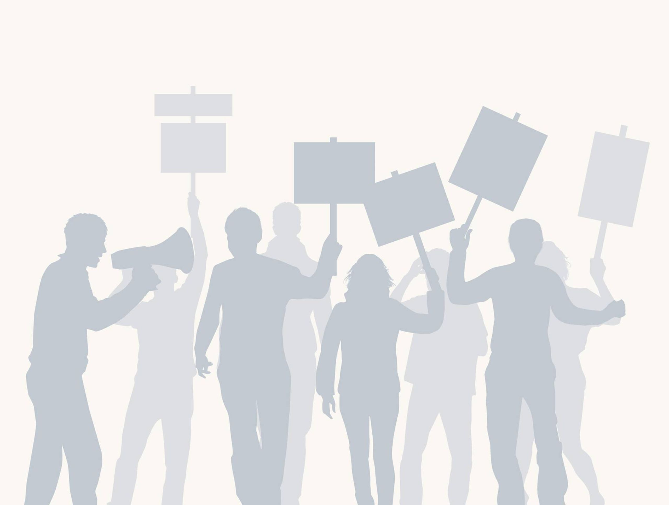 illustration of crowd protesting, Rewire, tech