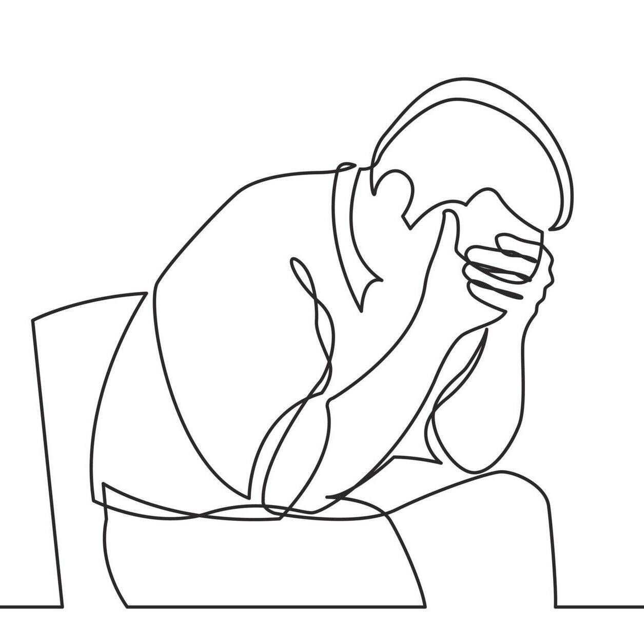 continuous line drawing of depressed man sitting on chair, chronic shame, depression, Rewire