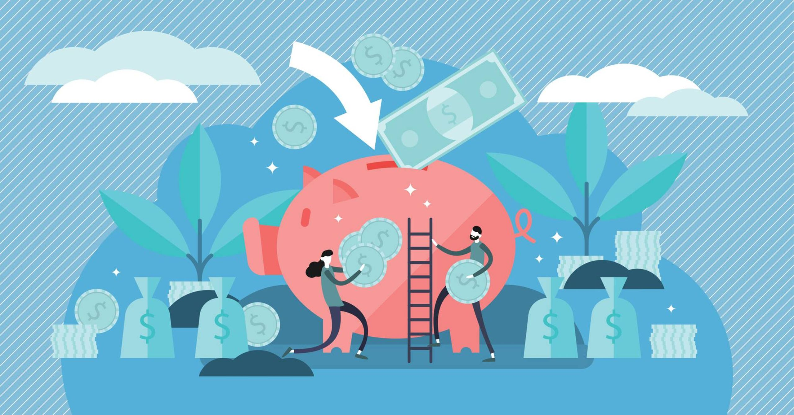 Illustration of young couple inserting coins into large piggy bank, rewire, combine finances
