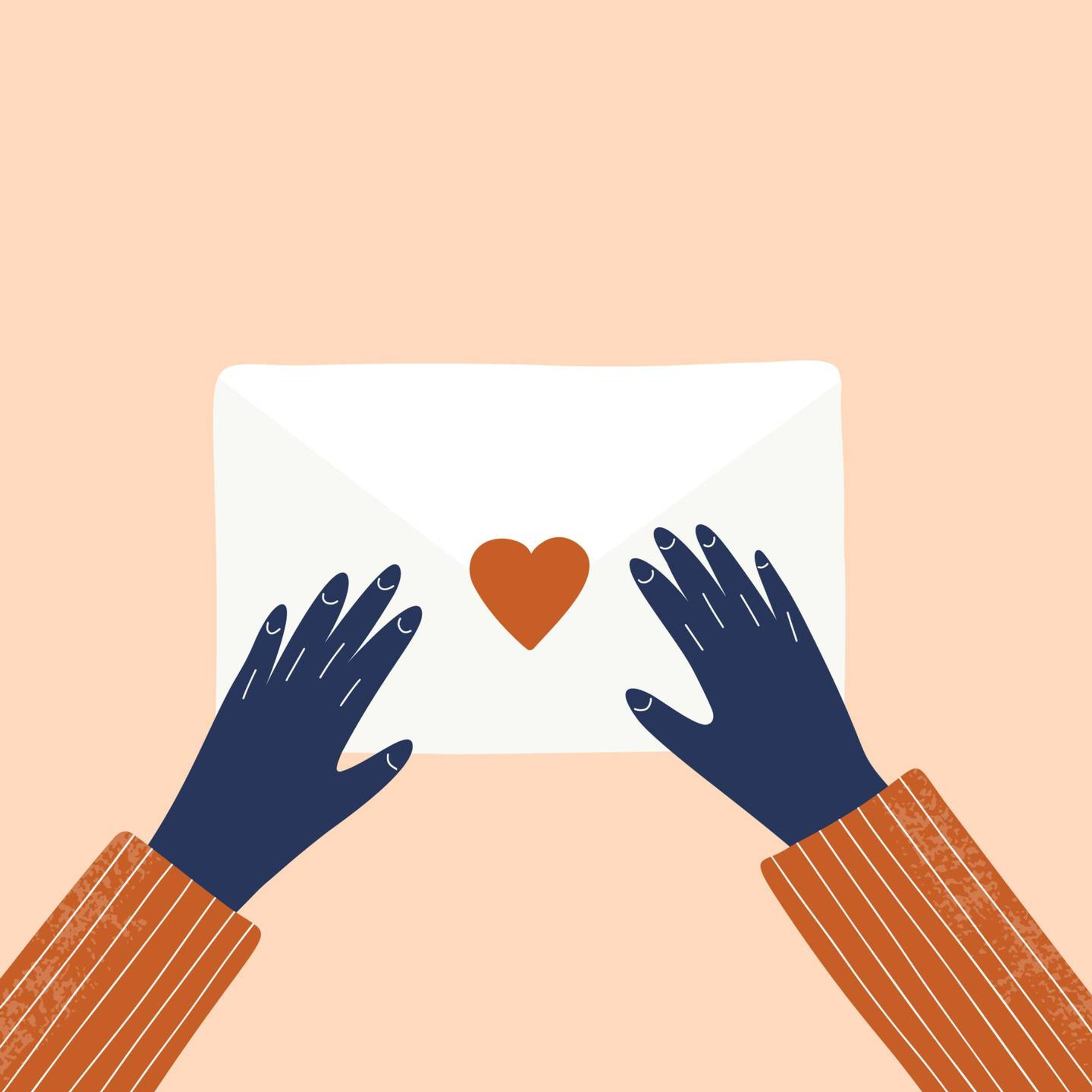 Love letter and hands vector hand drawn illustration, pandemic anxiety, rewire