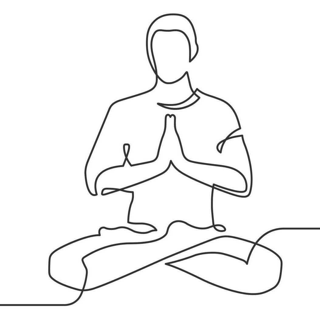 Continuous line drawing of man sitting in yoga pose near cloud, Rewire, manage anxiety