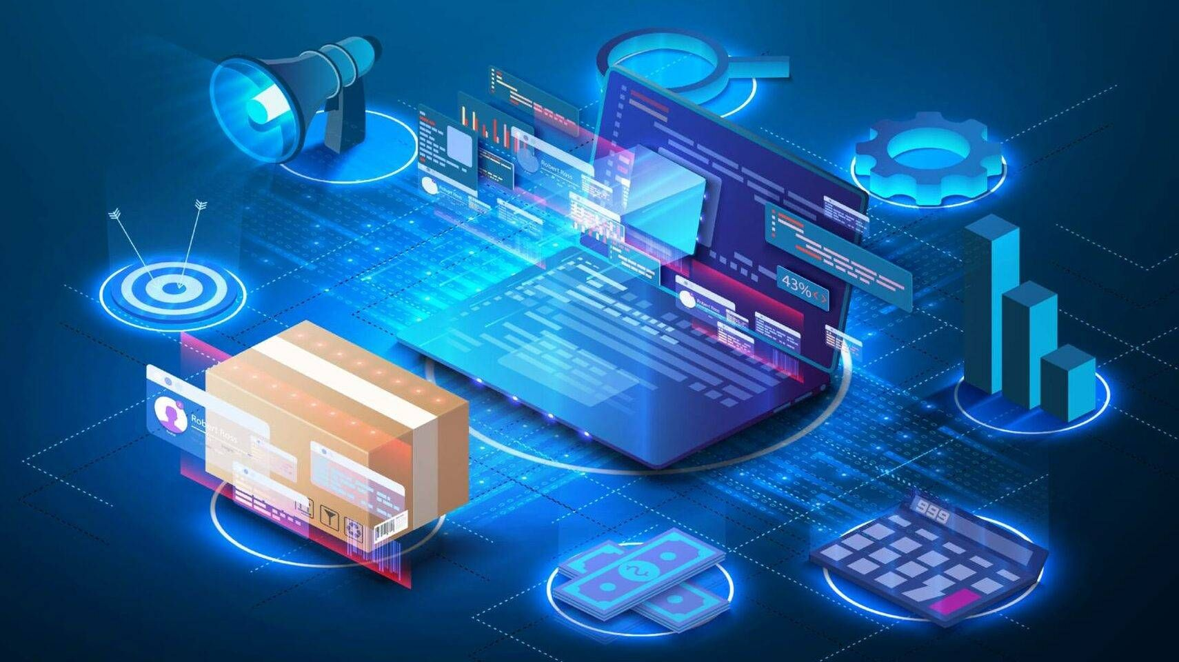 Illustration of digital warehouse and inventory management supply chain technology, Rewire, tech